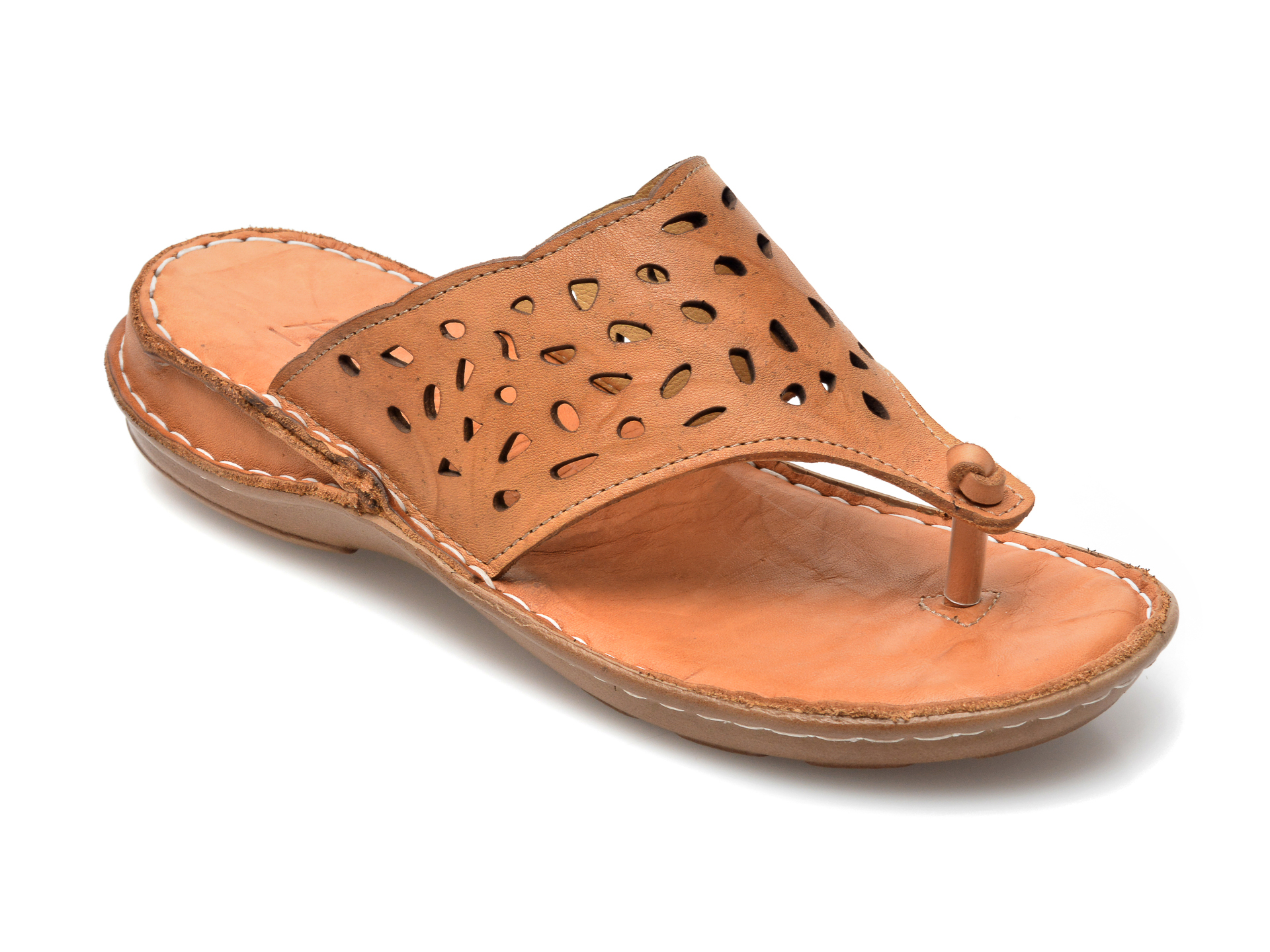 Papuci PAVARELLA maro, 393, din piele naturala imagine otter.ro 2021