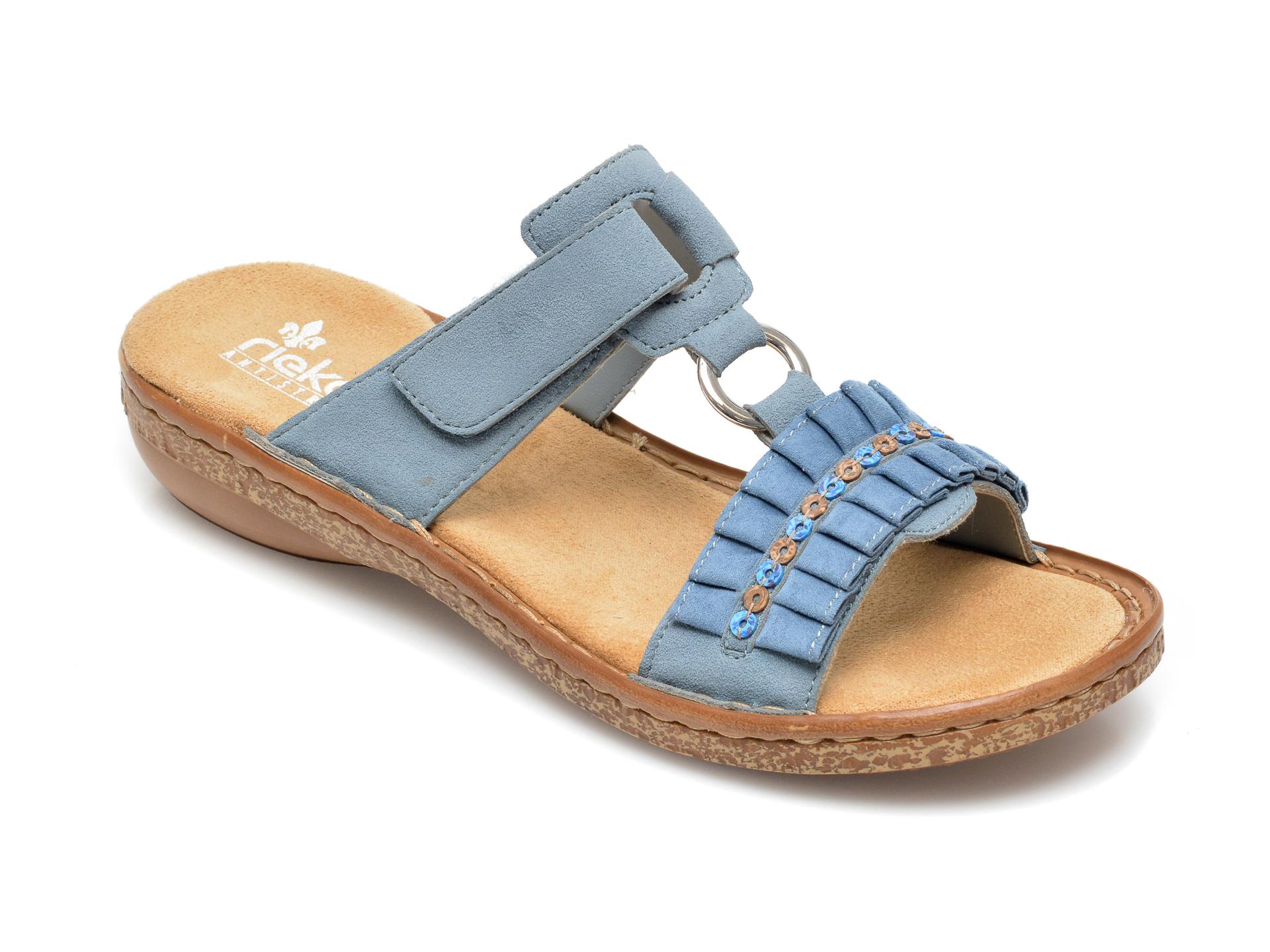 Papuci RIEKER albastri, 628R3, din piele ecologica imagine otter.ro