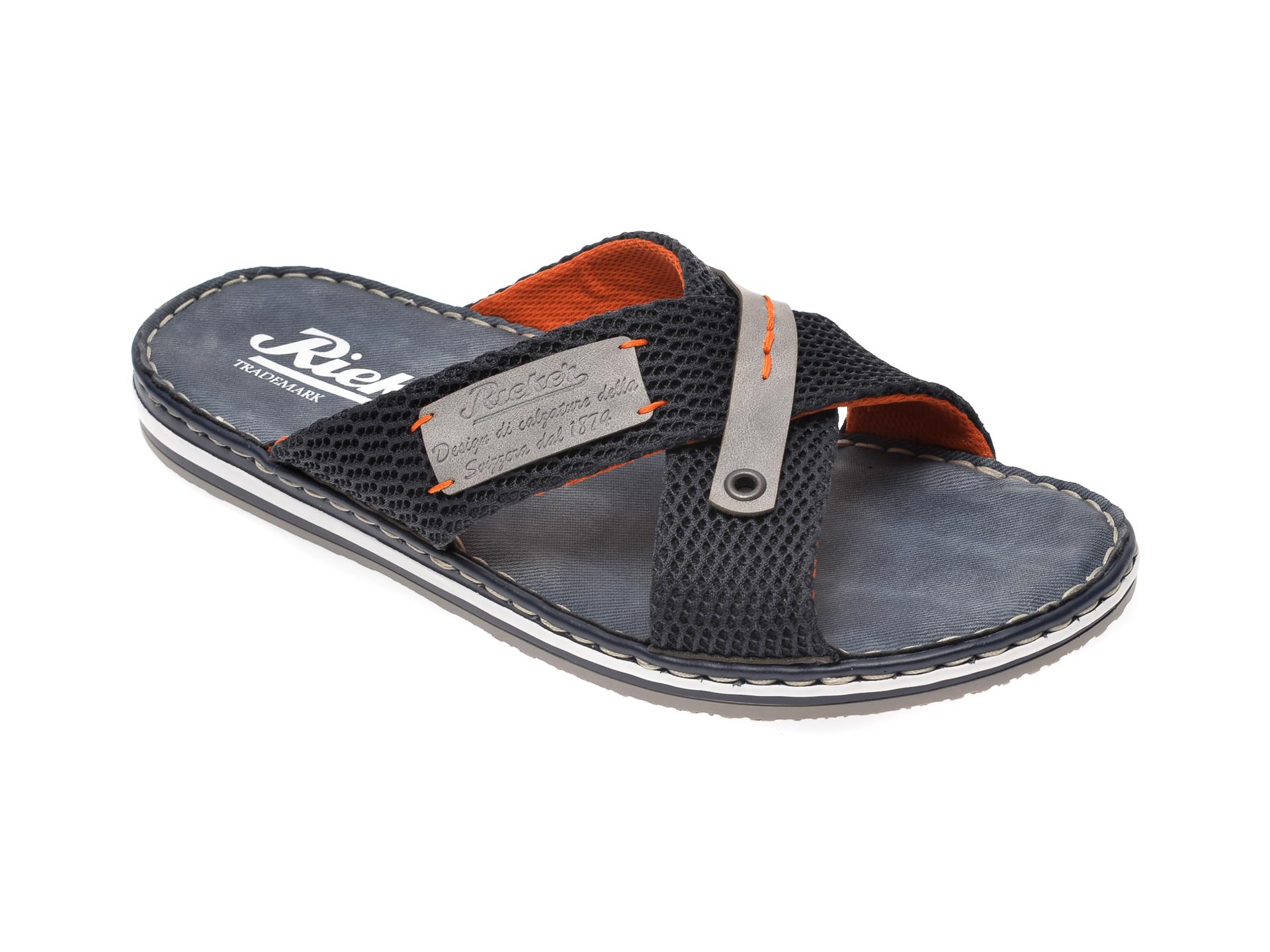 Papuci RIEKER bleumarin, 21539, din material textil imagine