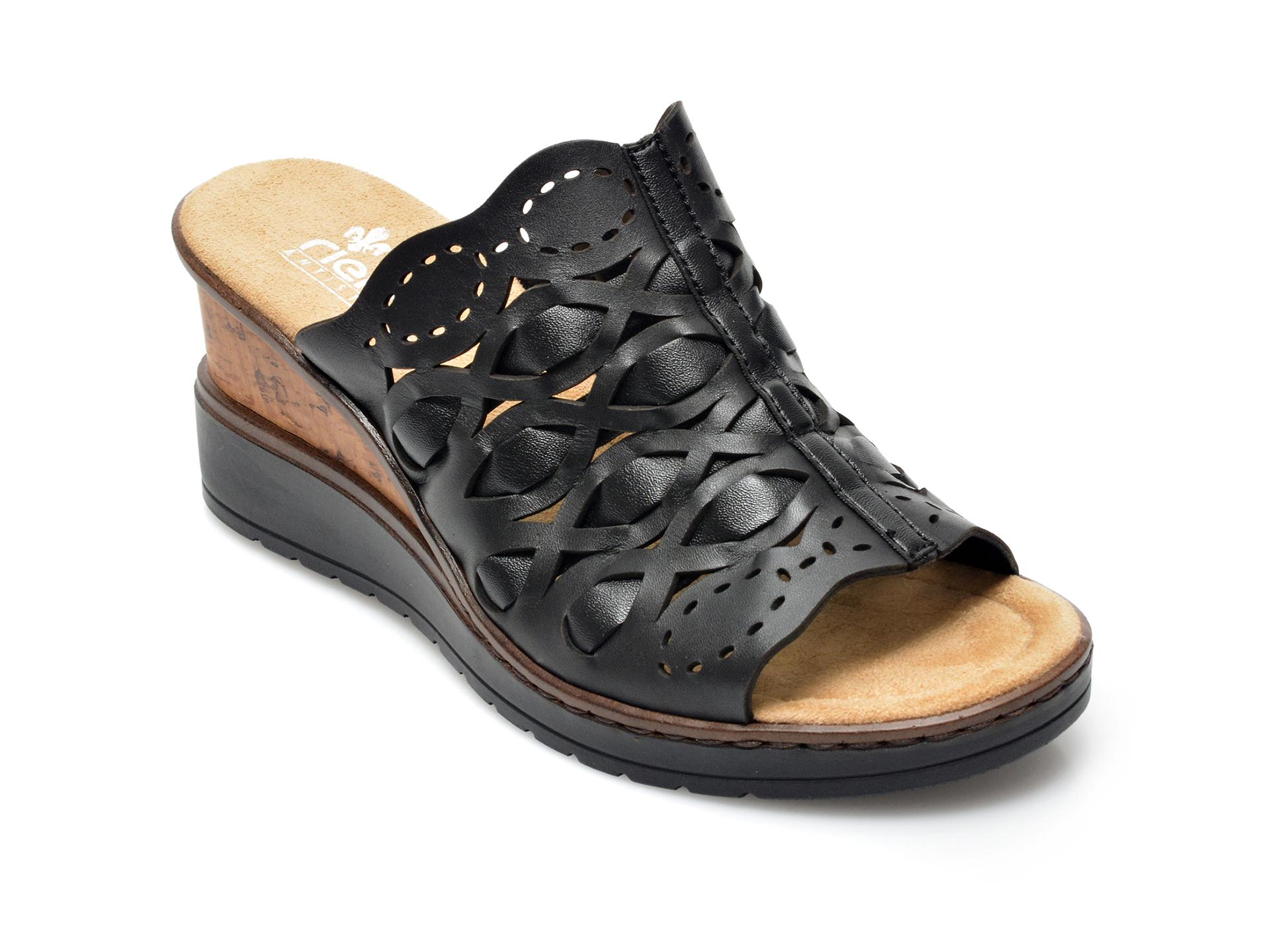 Papuci RIEKER negri, V35A8, din piele naturala imagine otter.ro 2021
