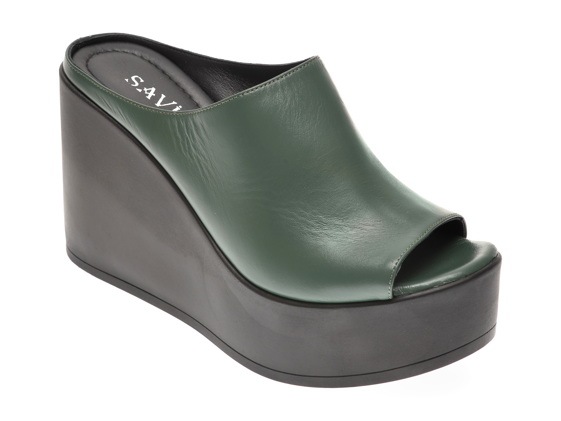 Papuci SAVINO verzi, 6292206, din piele naturala