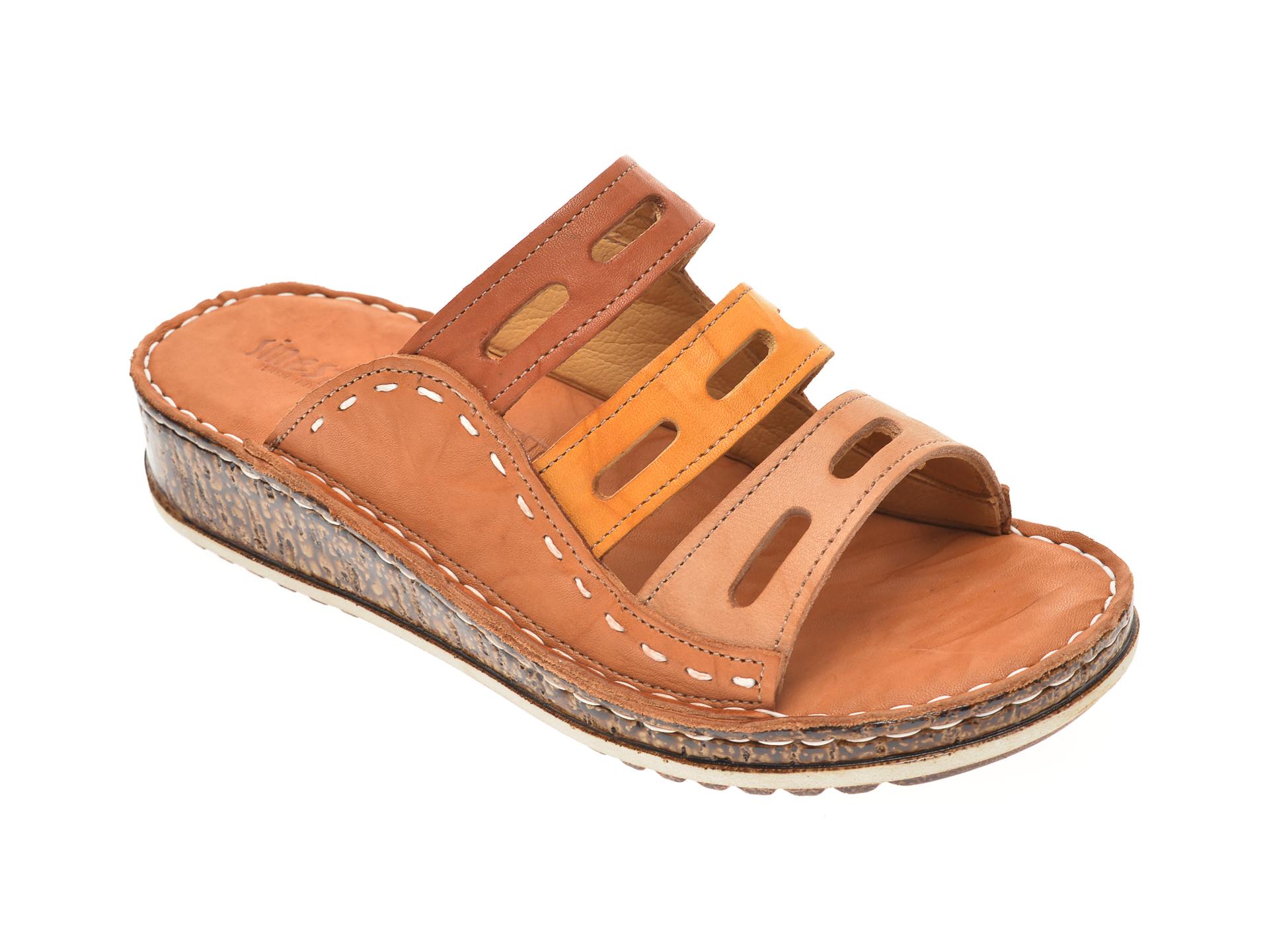 Papuci SINESTRESS maro, 1347, din piele naturala