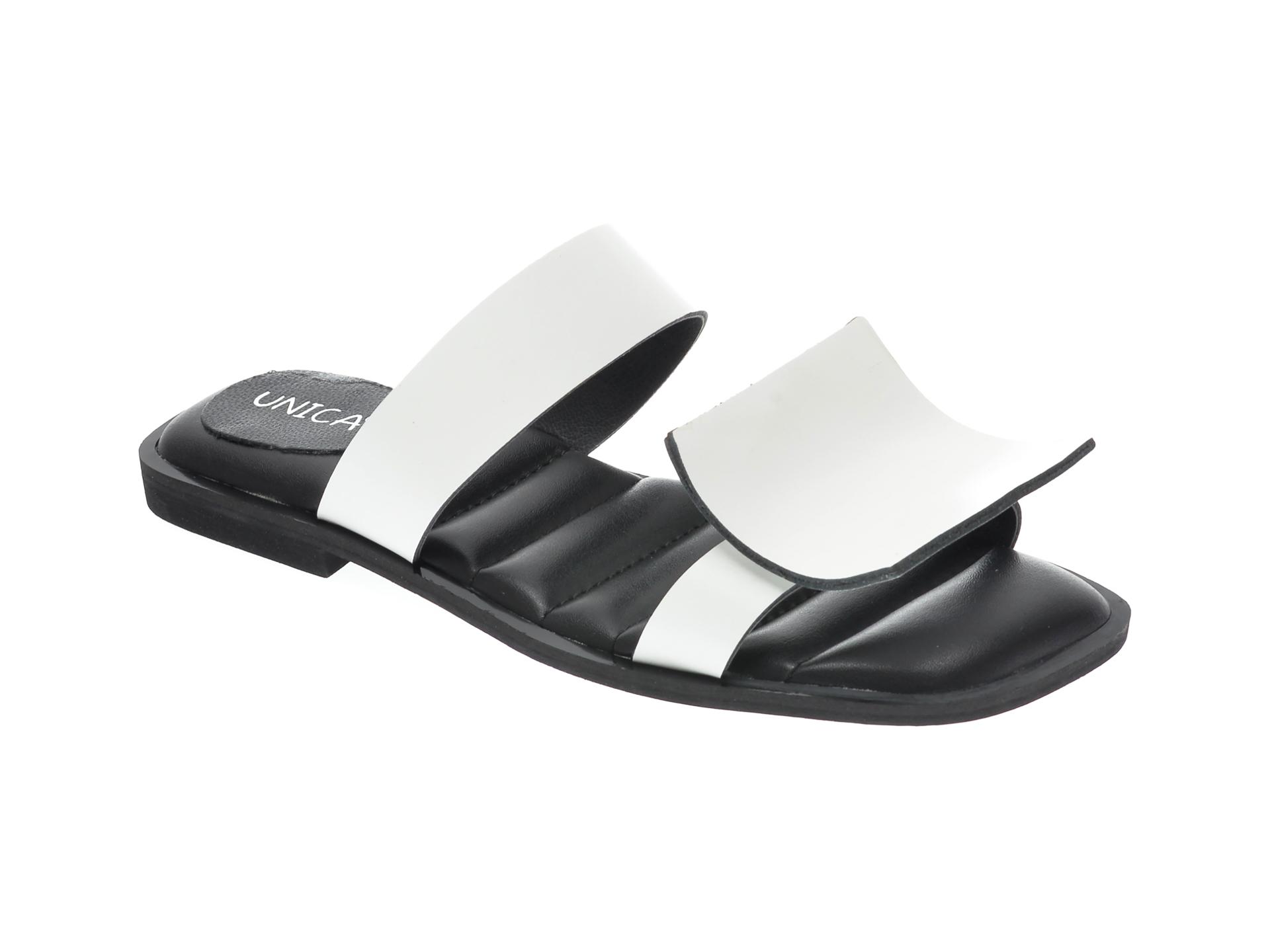 Papuci UNICA albi, A6418, din piele naturala imagine otter.ro