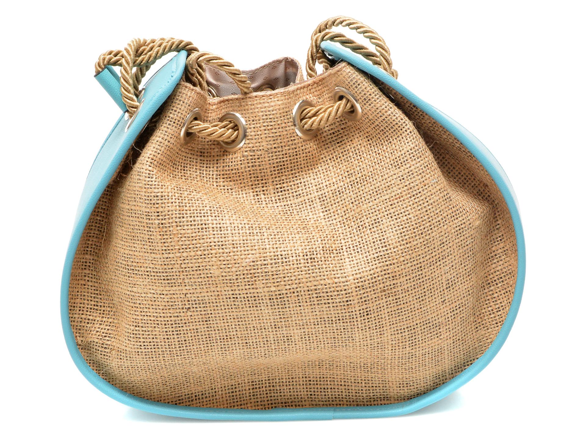 Poseta FLAVIA PASSINI albastra, OZN, din material textil si piele ecologica