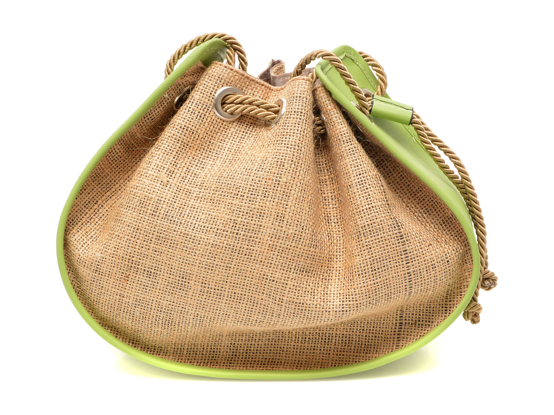 Poseta FLAVIA PASSINI verde, OZN, din material textil si piele ecologica