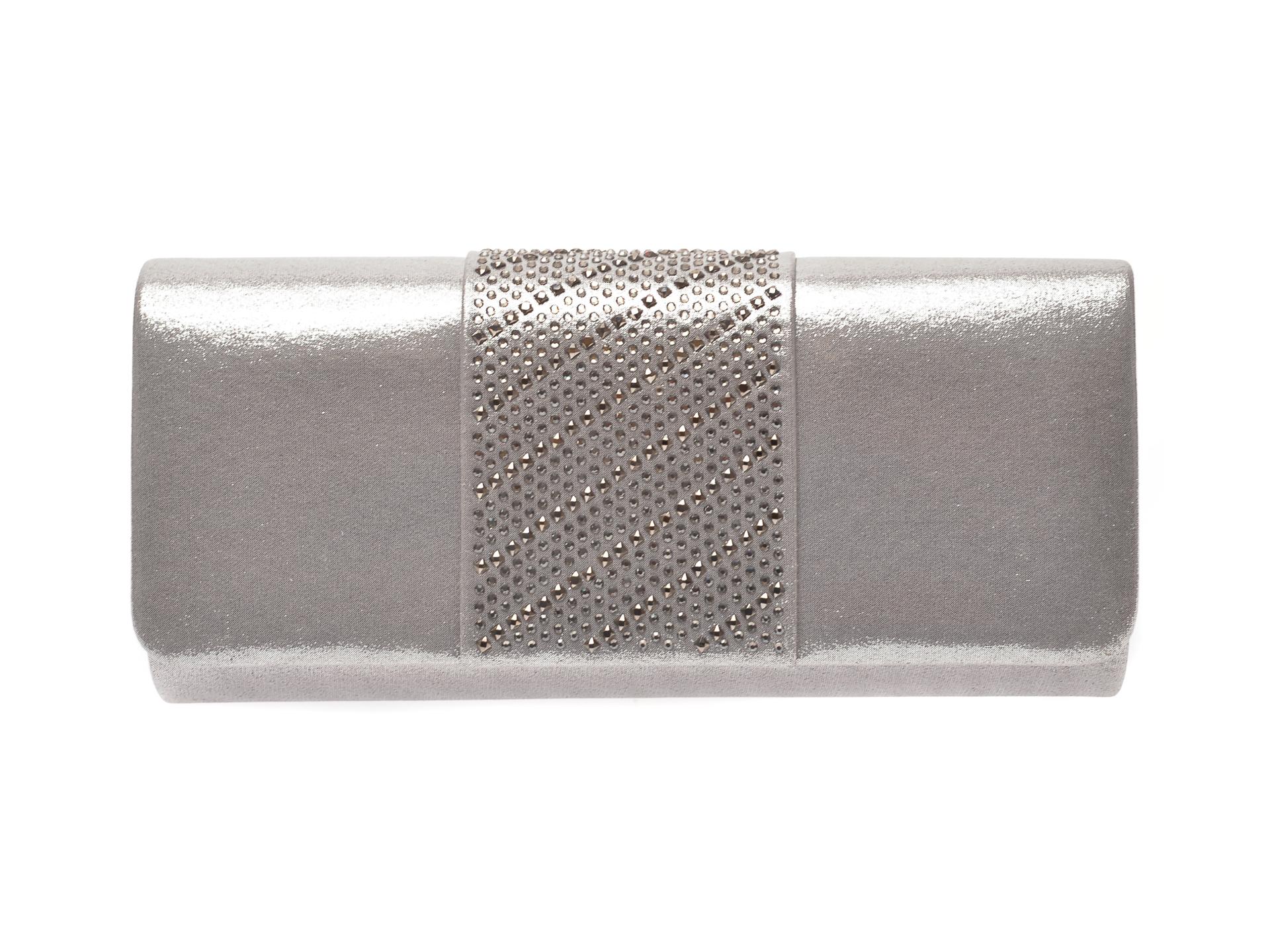 Poseta plic MENBUR argintie, 84680, din material textil