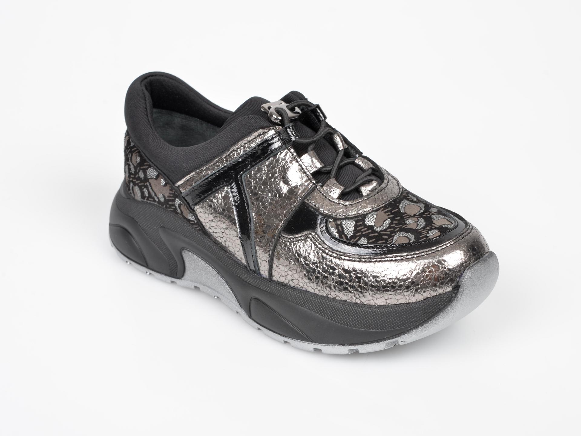 Pantofi Selections Kids Argintii, 3448, Din Piele Naturala