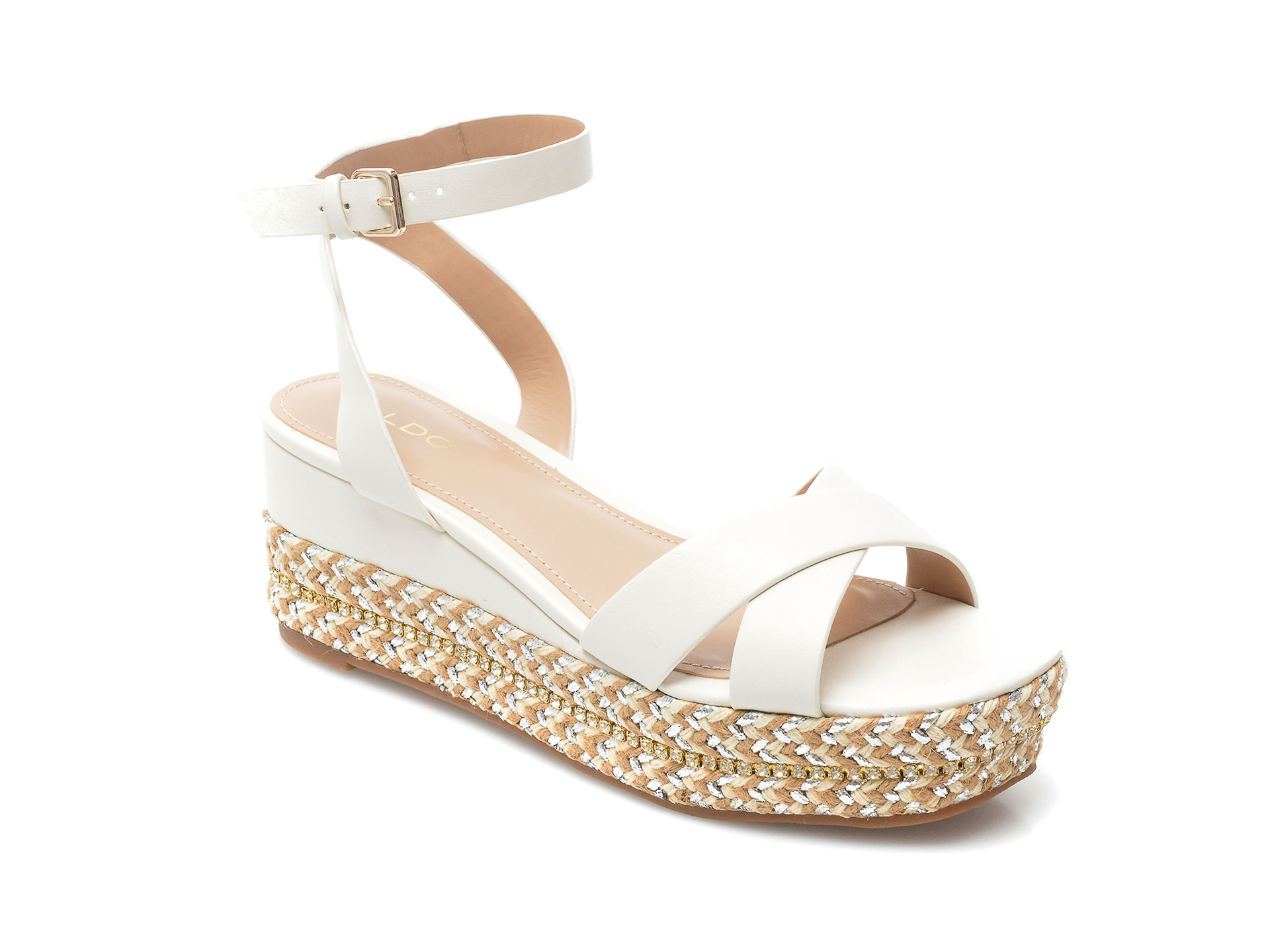 Sandale ALDO albe, Launia100, din piele ecologica imagine otter.ro 2021