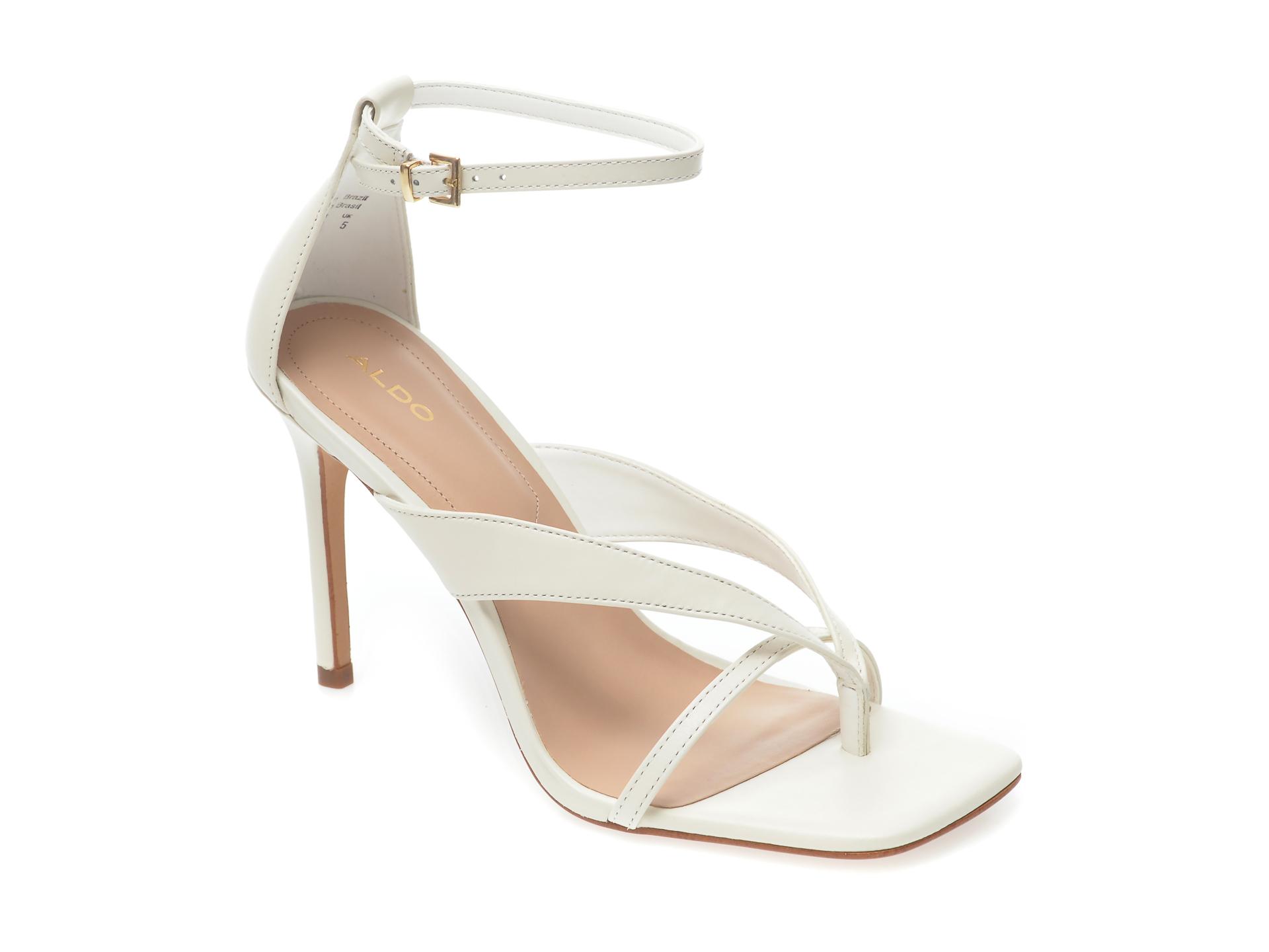 Sandale ALDO albe, Lexie100, din piele naturala imagine otter.ro