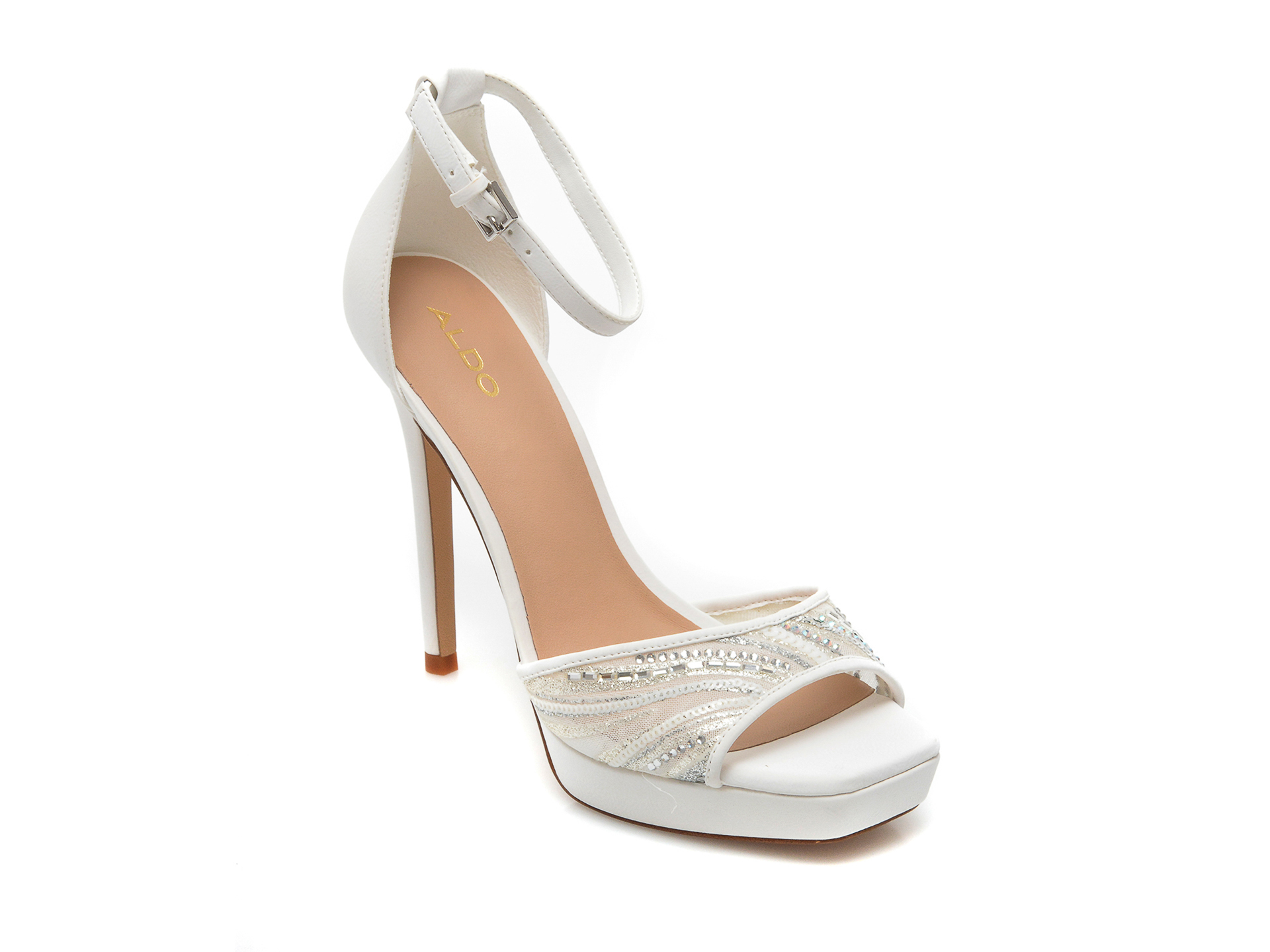 Sandale ALDO albe, Wicoethiel100, din material textil si piele ecologica imagine otter.ro 2021