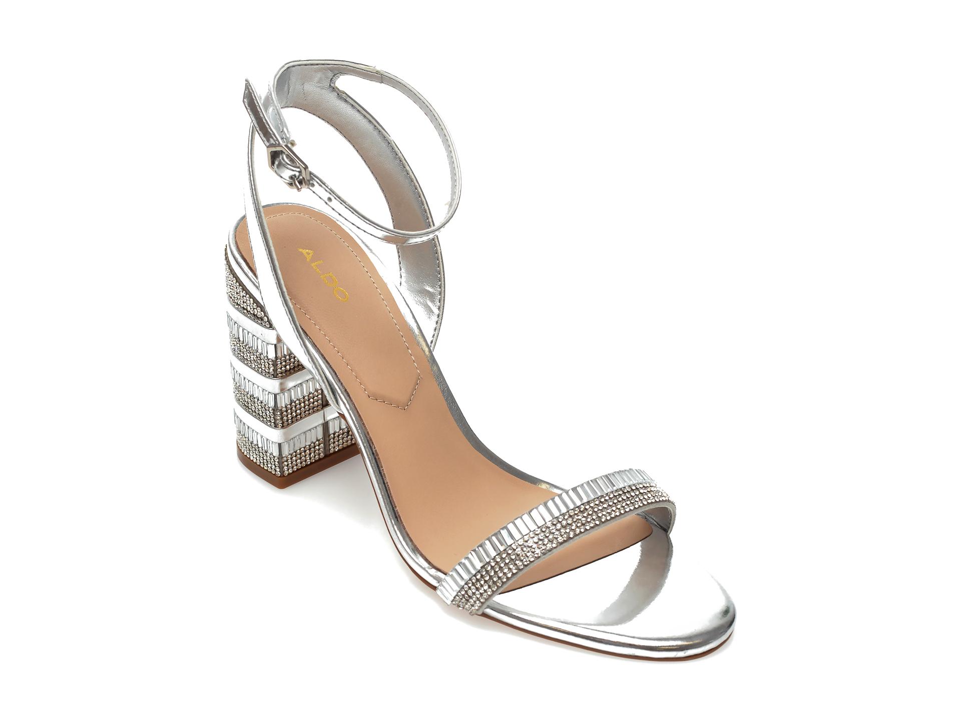 Sandale ALDO argintii, Alhamra040, din piele ecologica New
