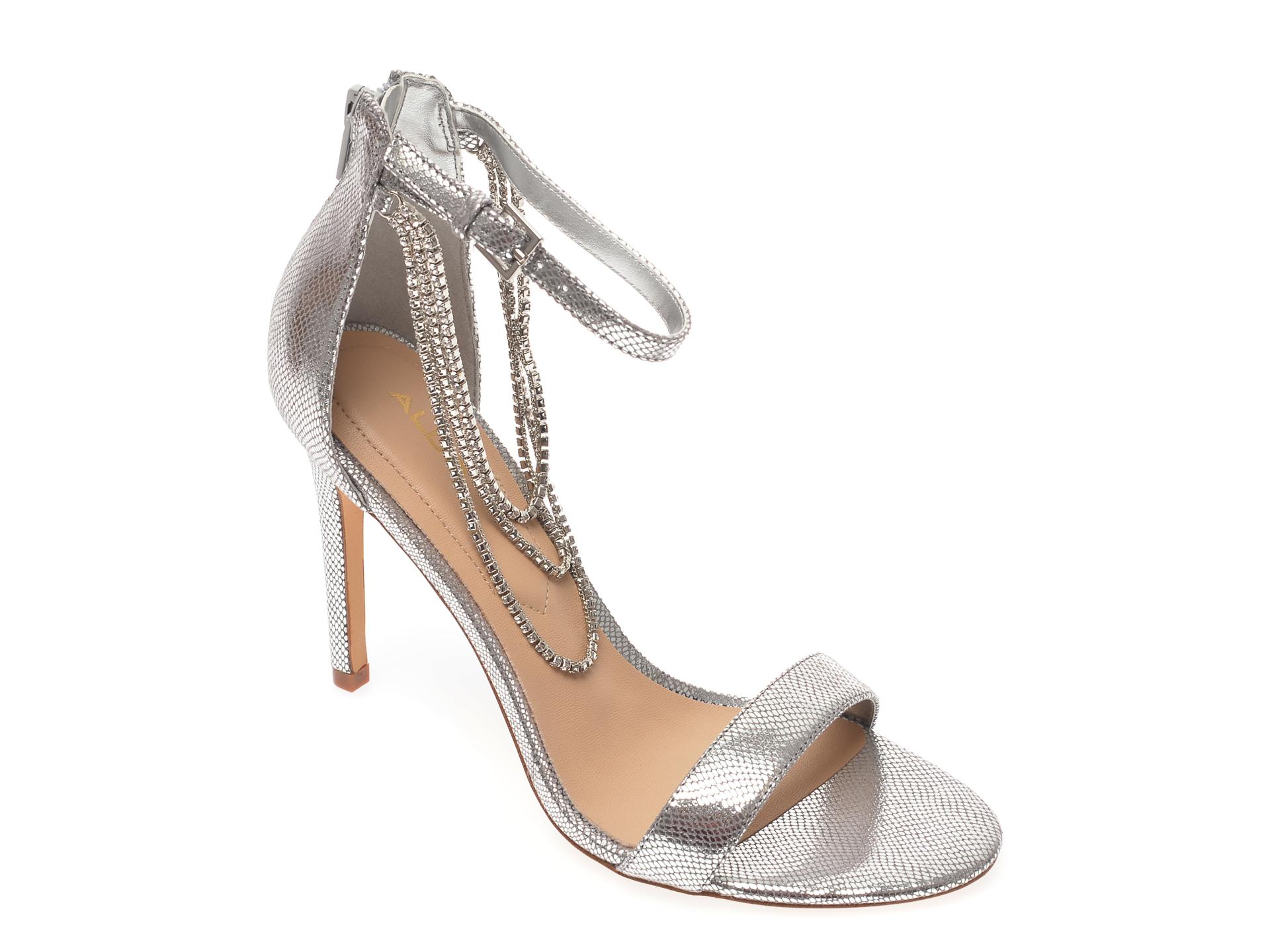Sandale ALDO argintii, Bling040, din piele ecologica