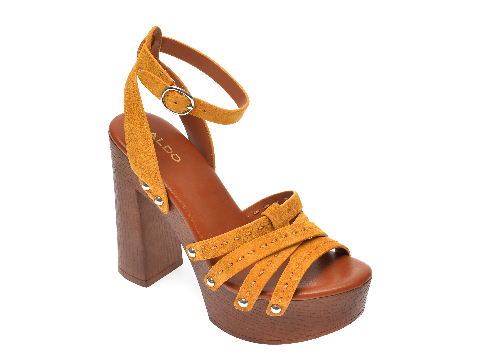 Sandale ALDO galbene, Hendra700, din piele intoarsa