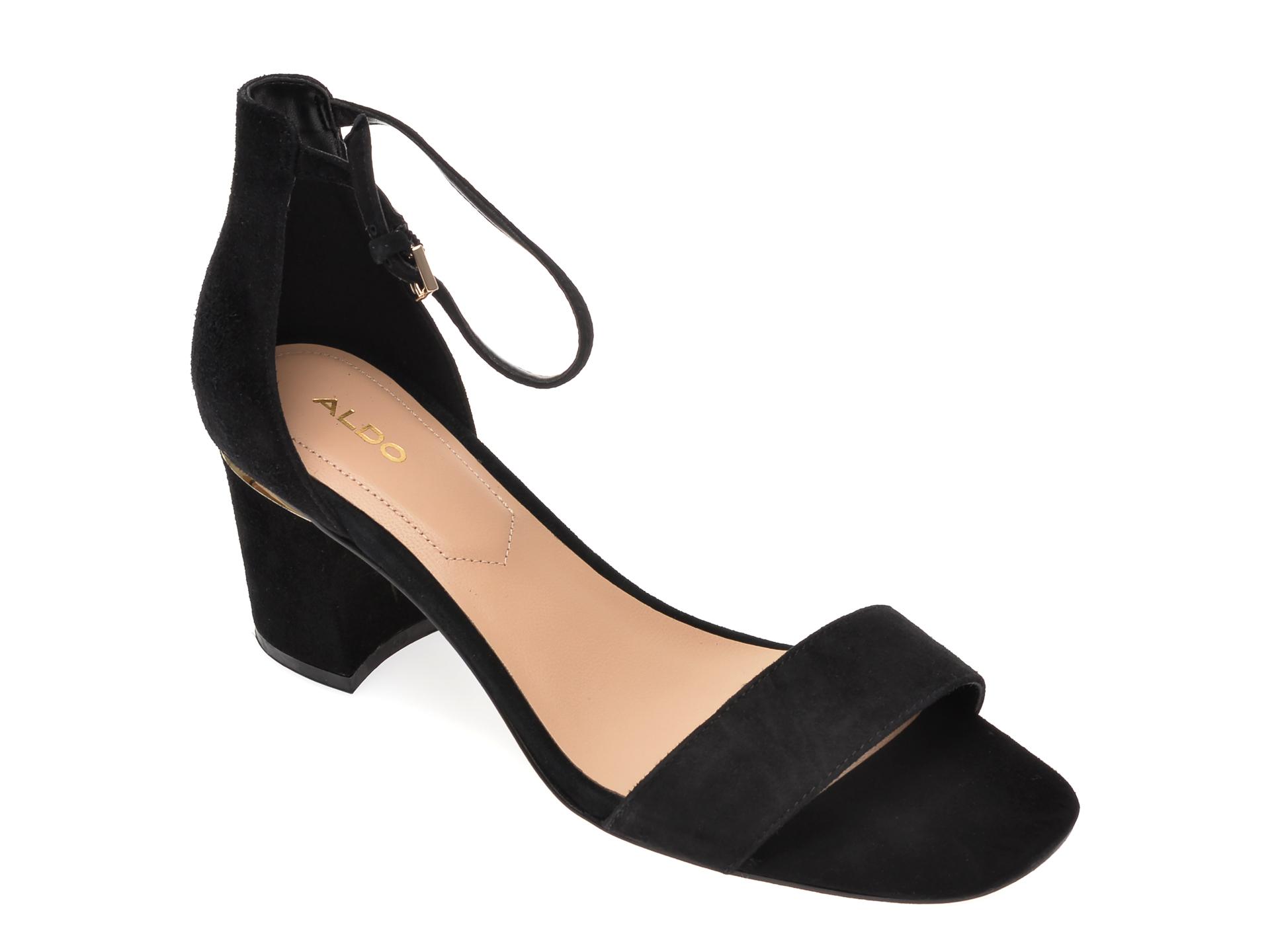 Sandale ALDO negre, Valentina001, din piele intoarsa