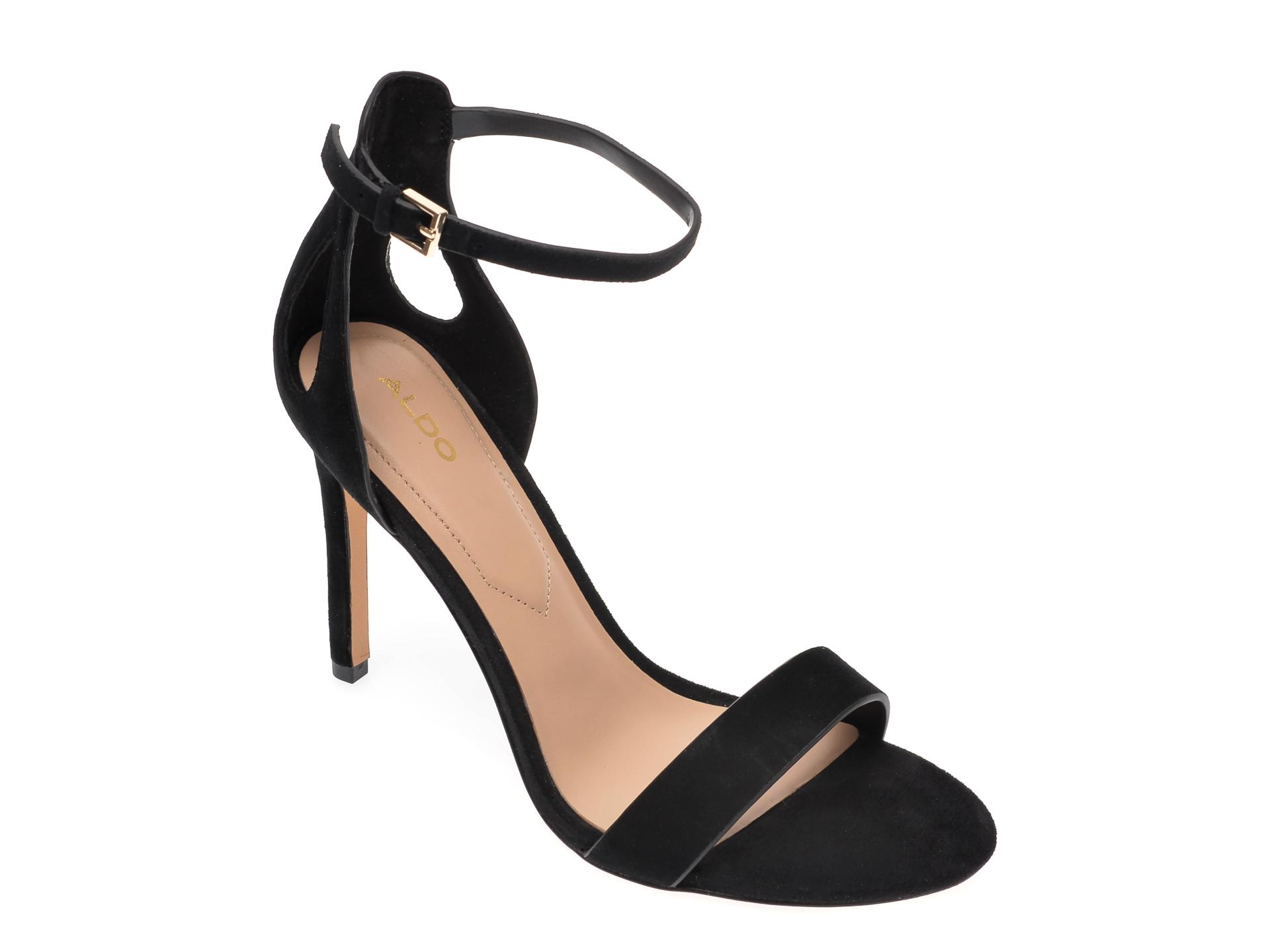 Sandale ALDO negre, Violla001, din piele intoarsa New