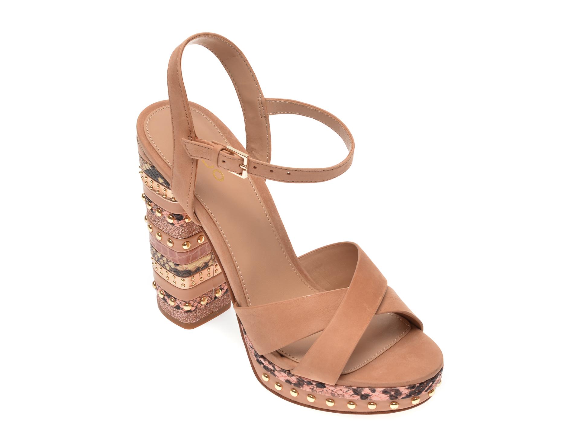 Sandale ALDO nude, Hugs270, din nabuc