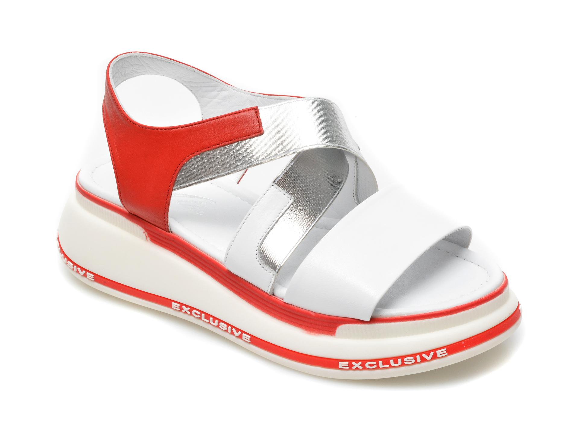 Sandale ALLEE albe, 2561LL, din piele naturala