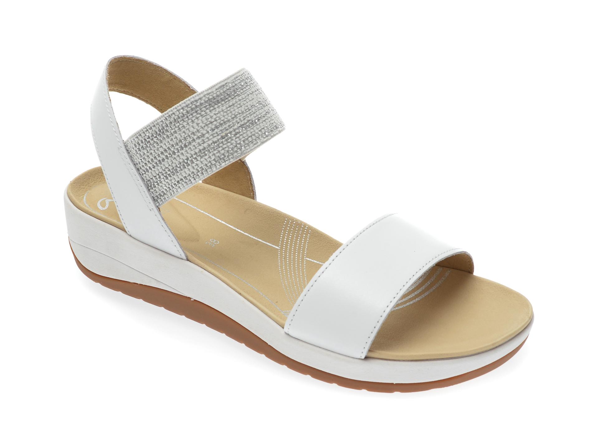 Sandale ARA albe, 25926, din material textil si piele naturala imagine otter.ro