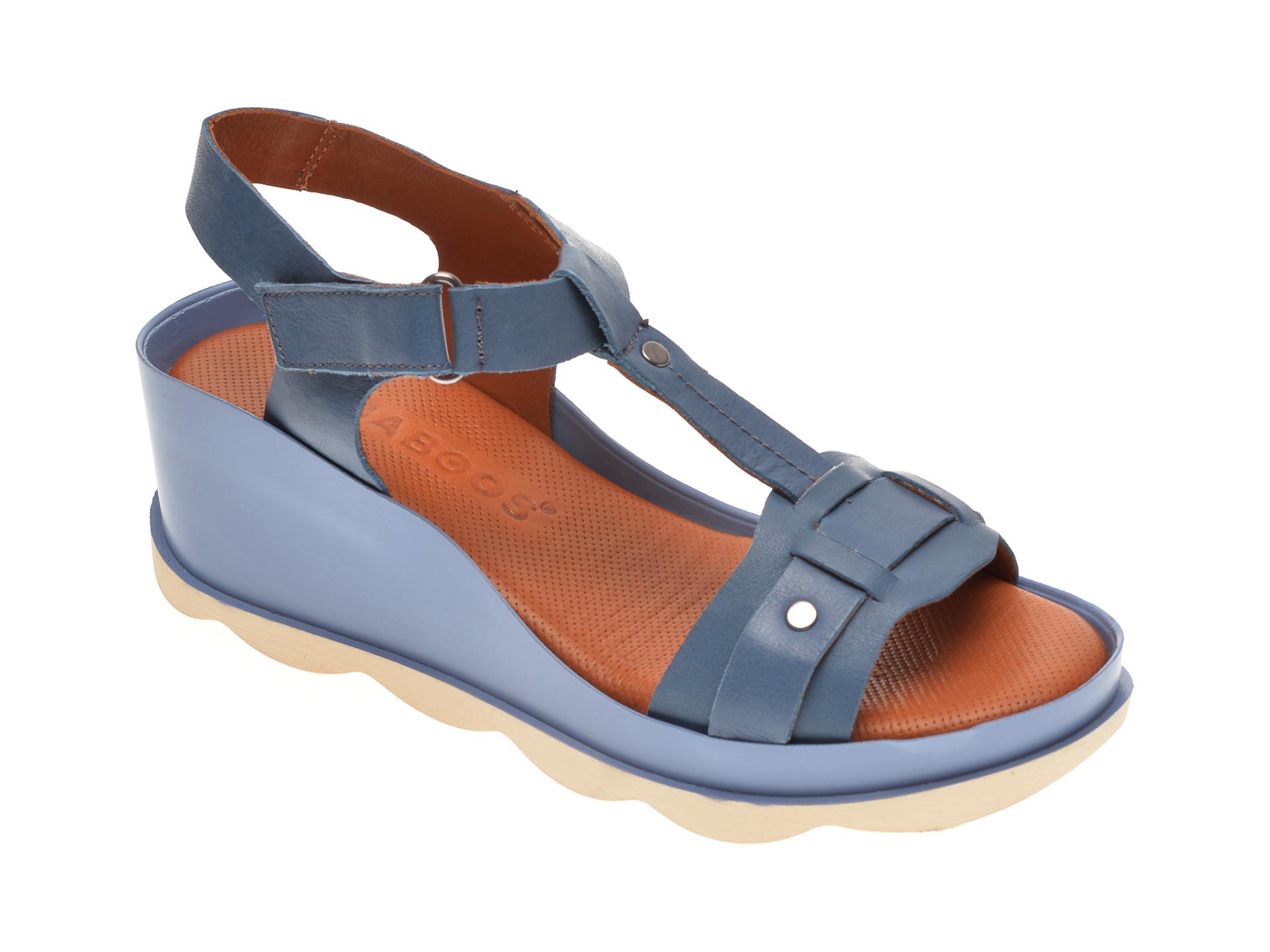 Sandale BABOOS albastre, 0502, din piele naturala imagine
