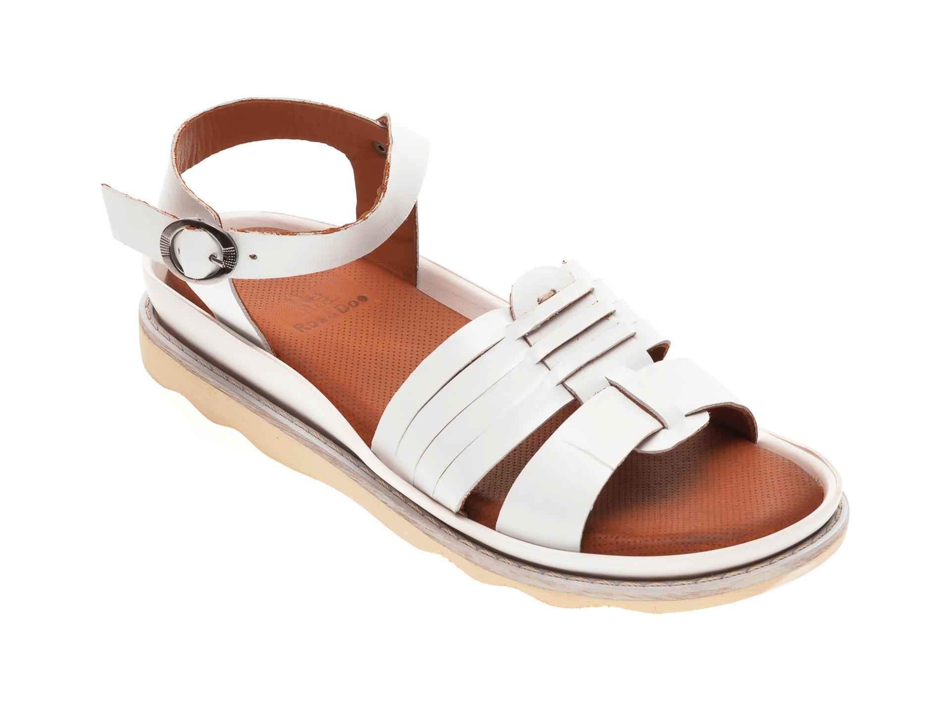 Sandale BABOOS albe, 0404, din piele naturala