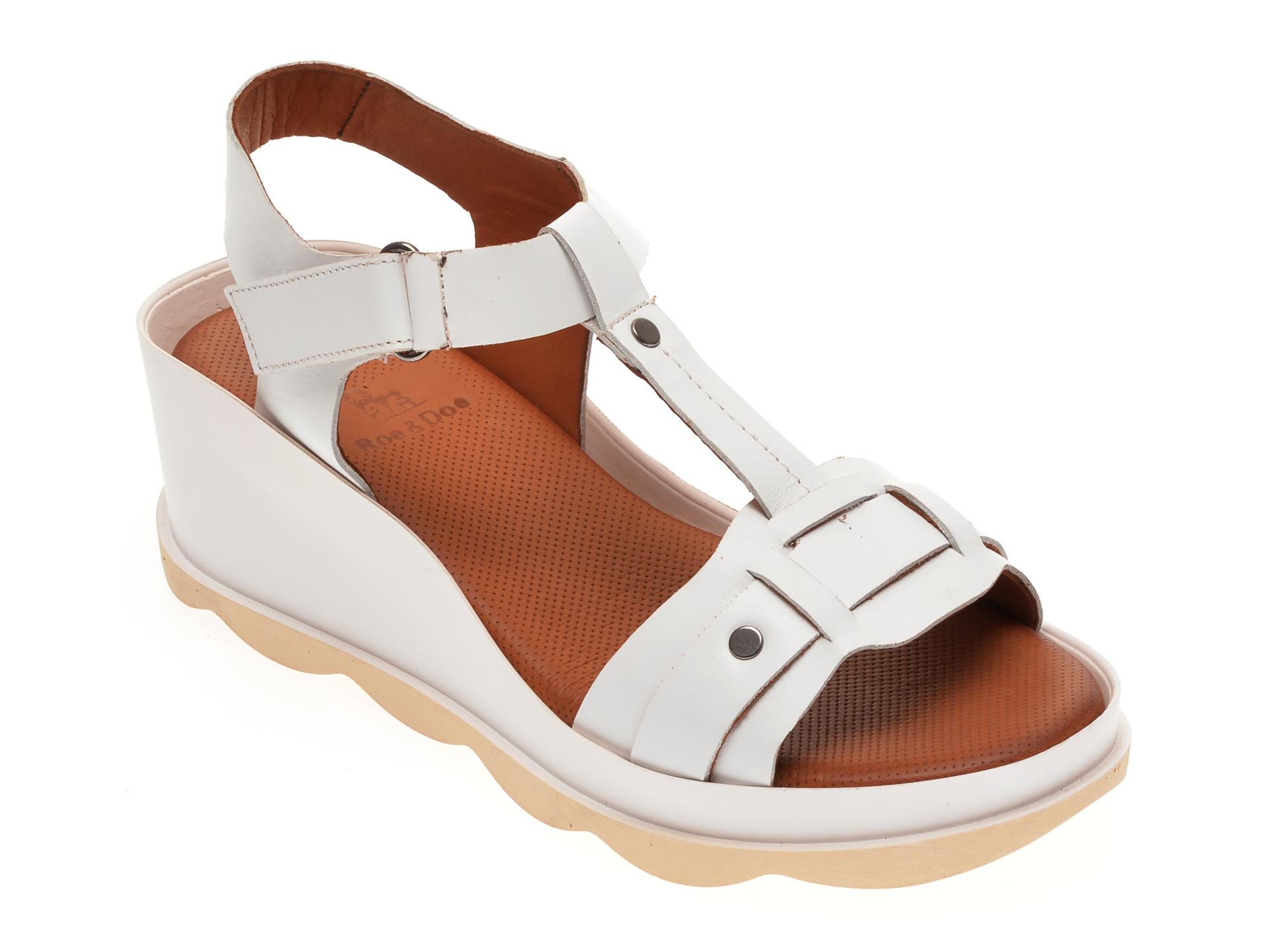 Sandale BABOOS albe, 0502, din piele naturala