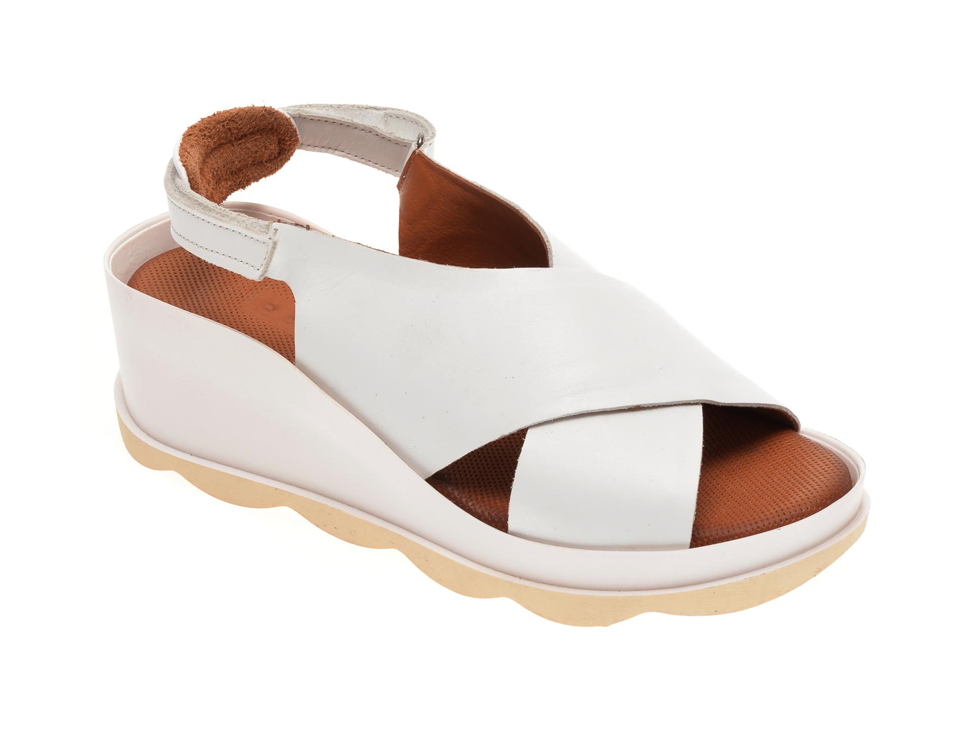 Sandale BABOOS albe, 0506, din piele naturala