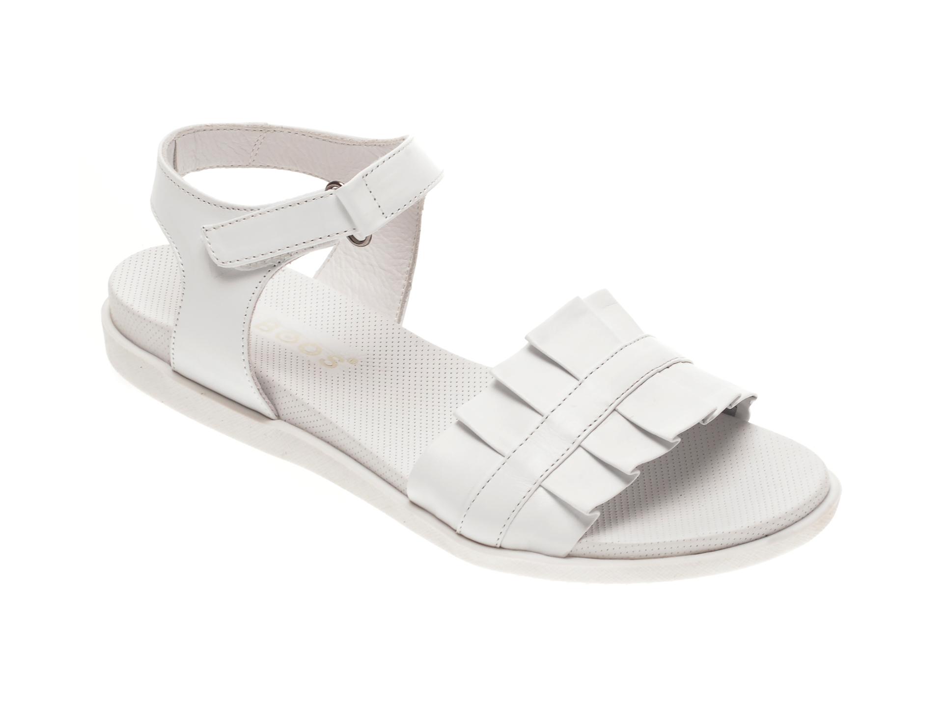 Sandale BABOOS albe, 1403, din piele naturala