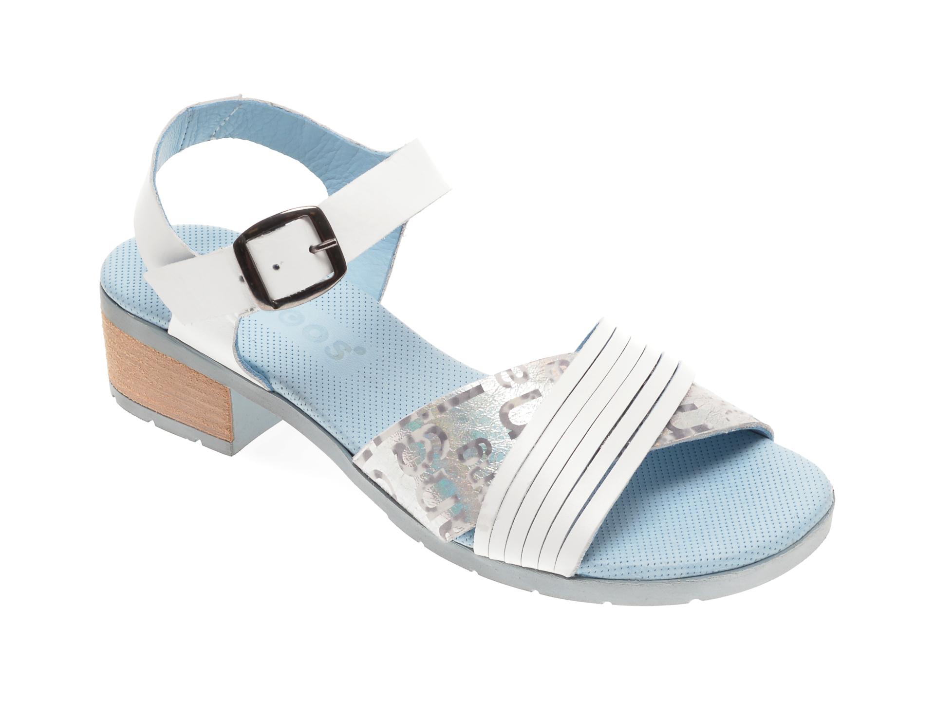 Sandale BABOOS albe, 1507, din piele naturala