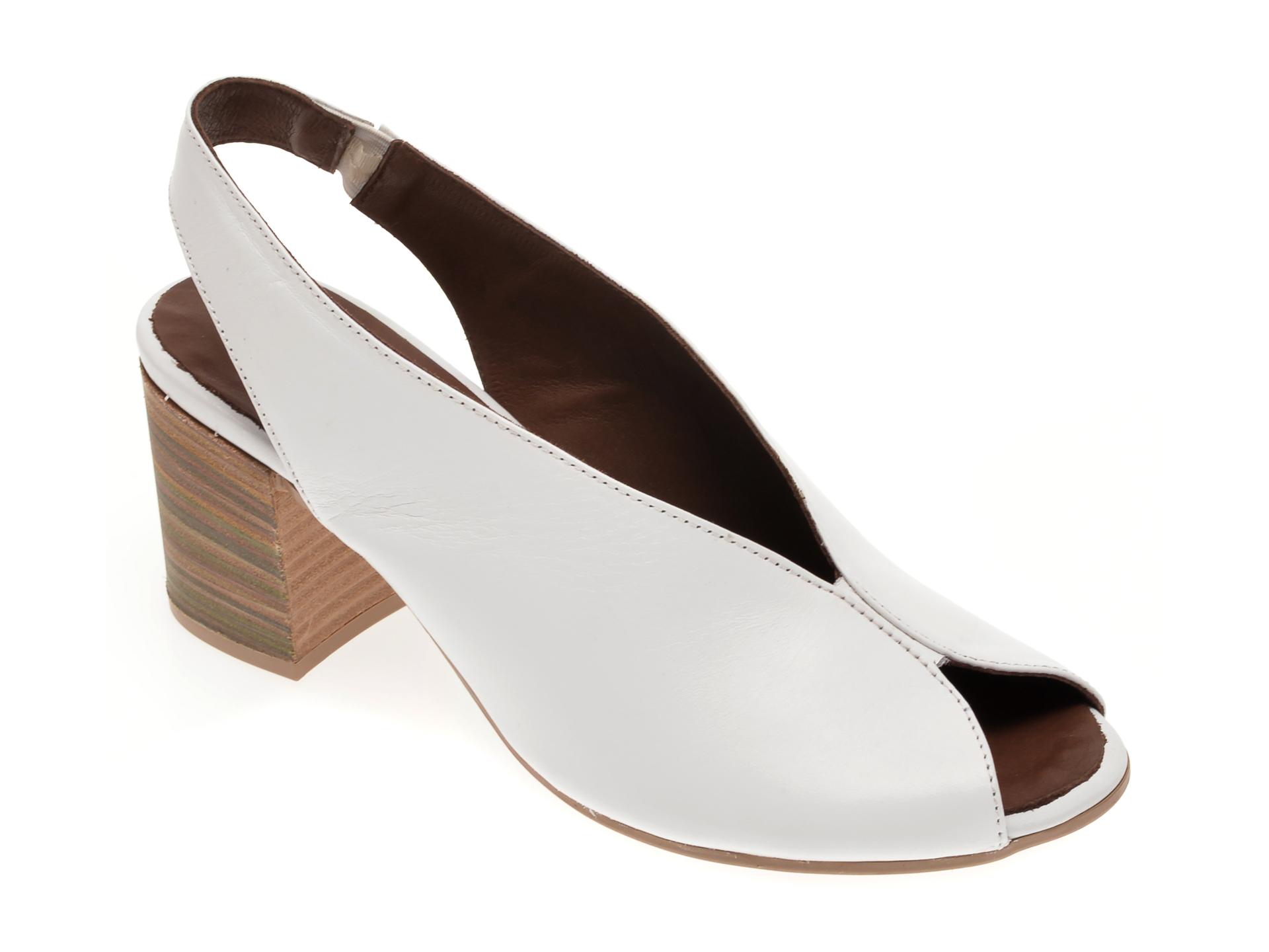 Sandale BABOOS albe, 1806, din piele naturala