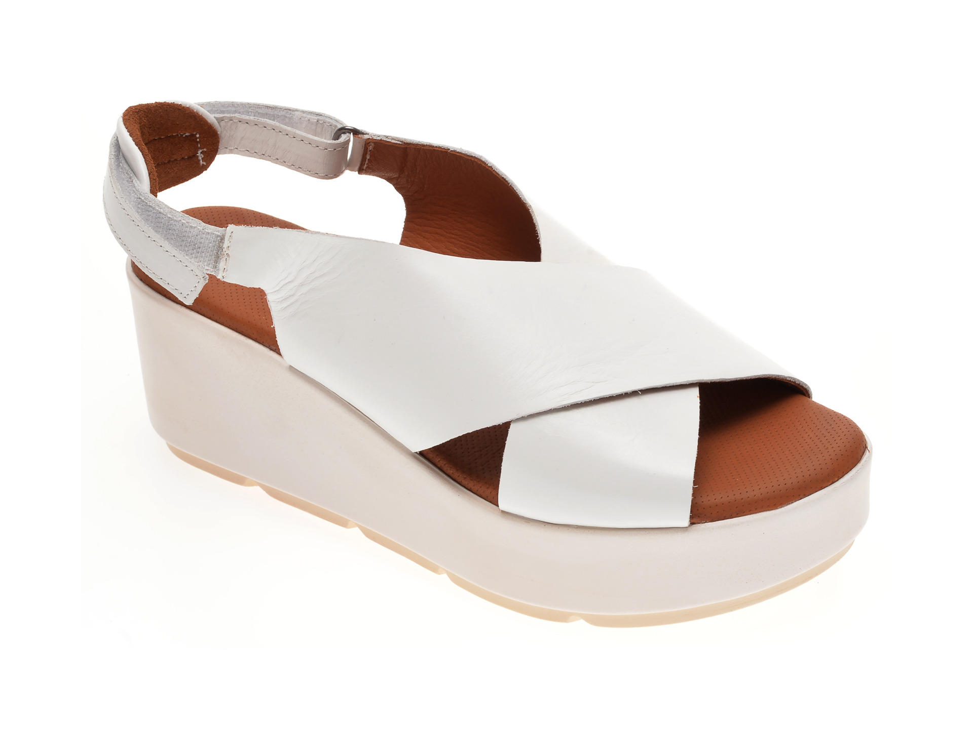 Sandale BABOOS albe, 2520, din piele naturala