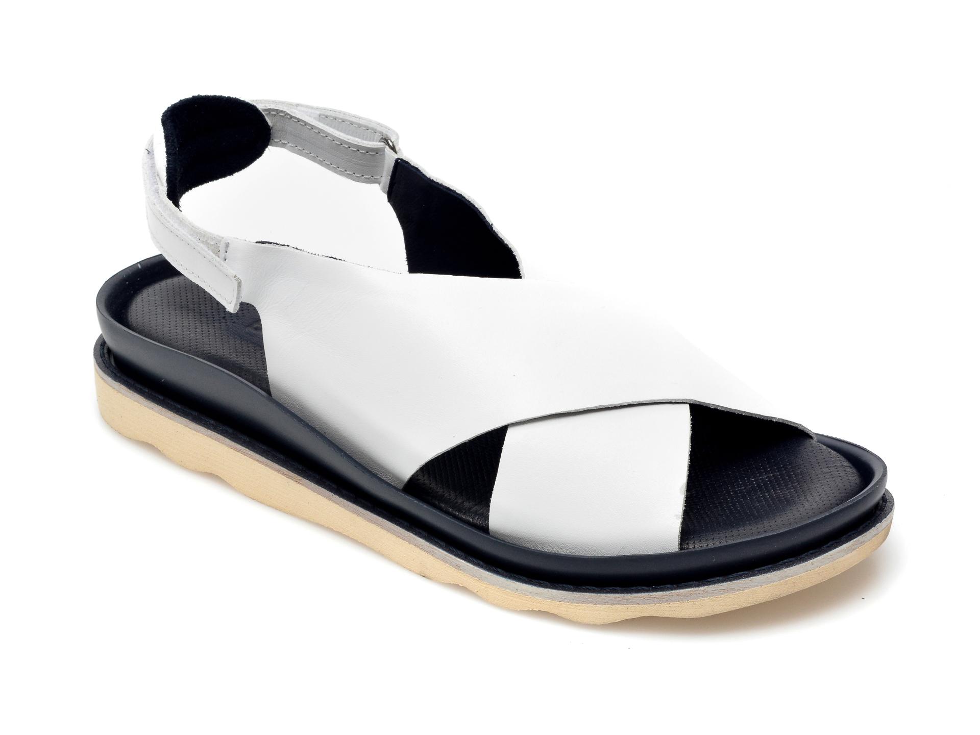 Sandale BABOOS albe, 403, din piele naturala imagine otter.ro 2021
