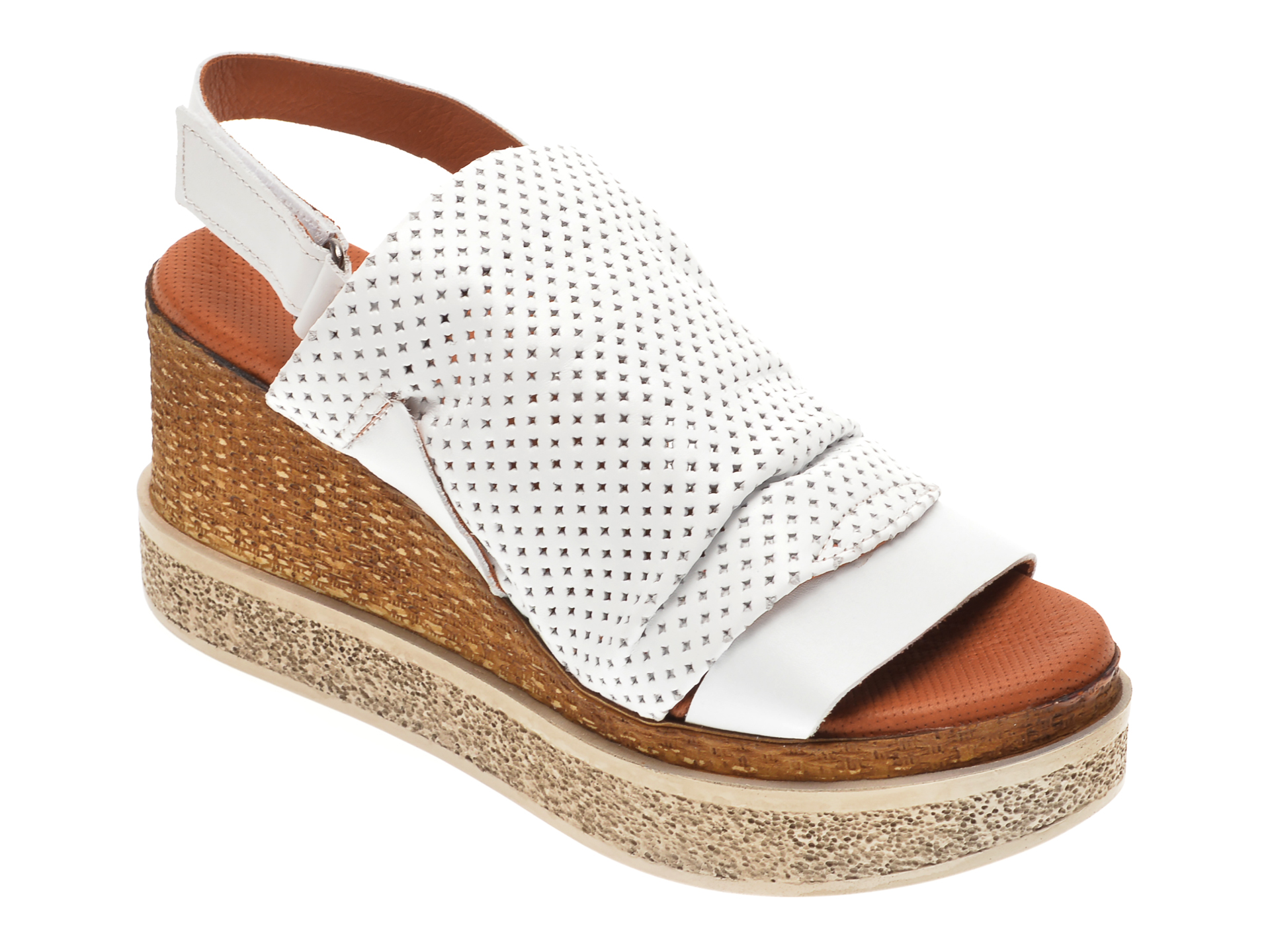 Sandale BABOOS albe, 852507, din piele naturala