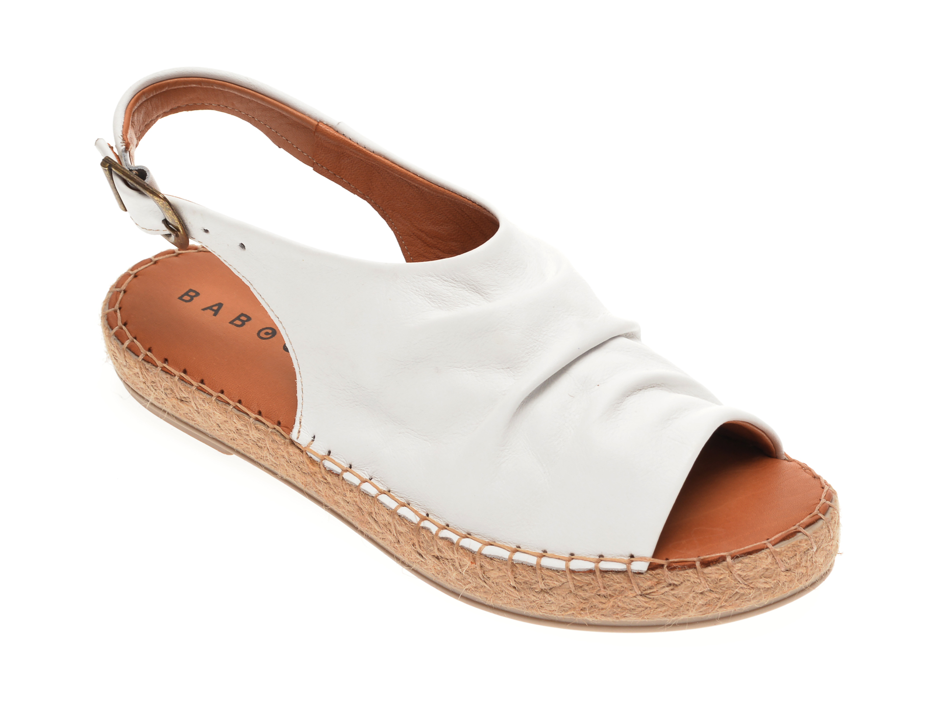 Sandale BABOOS albe, R06, din piele naturala