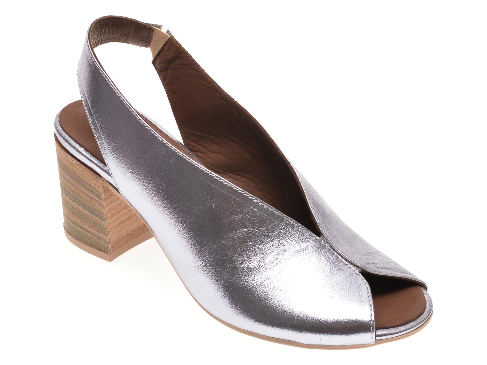 Sandale BABOOS argintii 1806, din piele naturala New