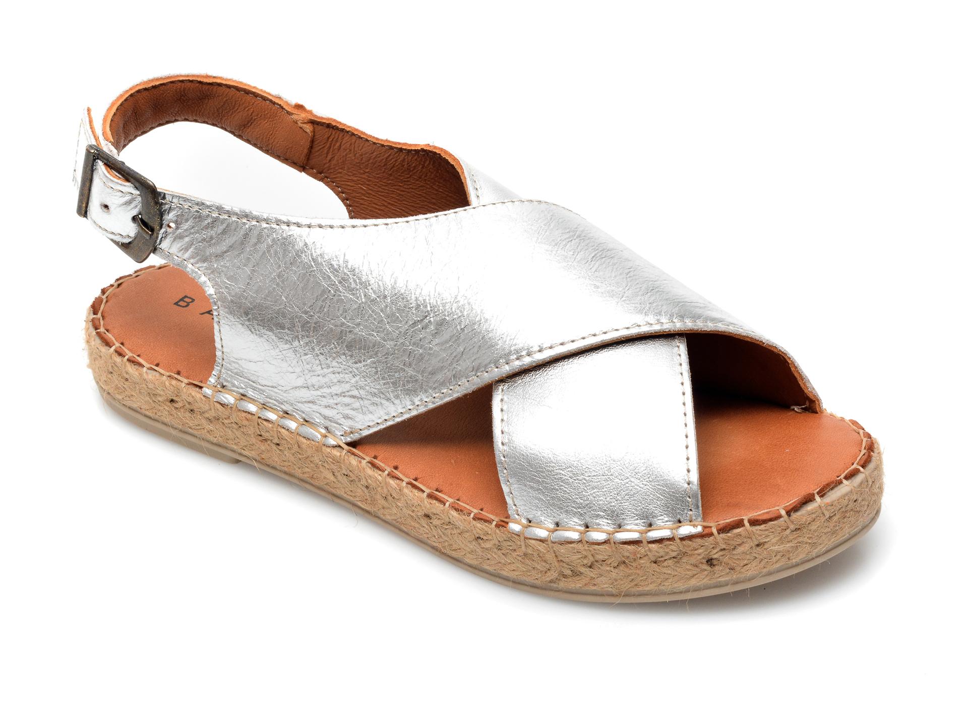 Sandale BABOOS argintii, R05, din piele naturala imagine otter.ro 2021