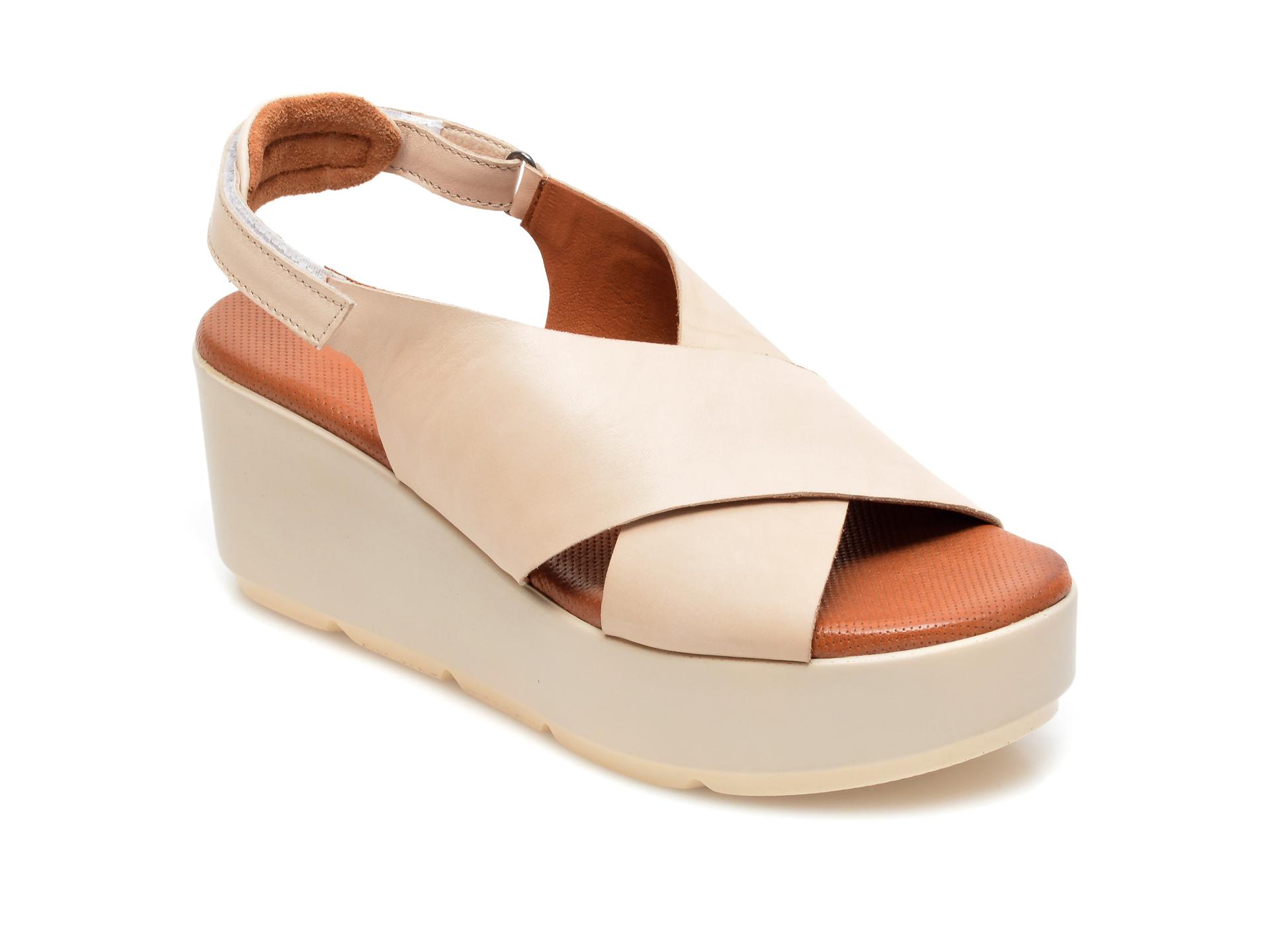 Sandale BABOOS bej, 2520, din piele naturala imagine otter.ro