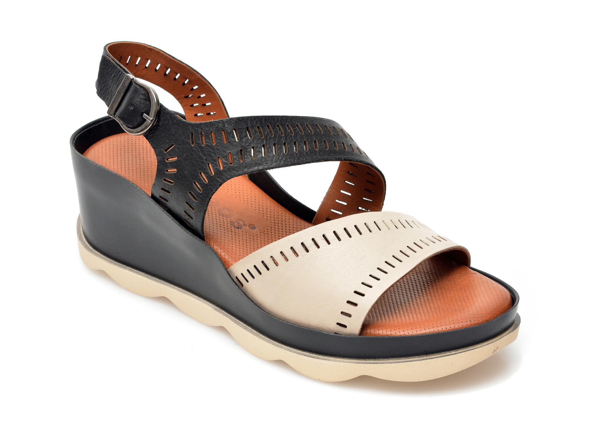 Sandale BABOOS bej, 504, din piele naturala imagine otter.ro