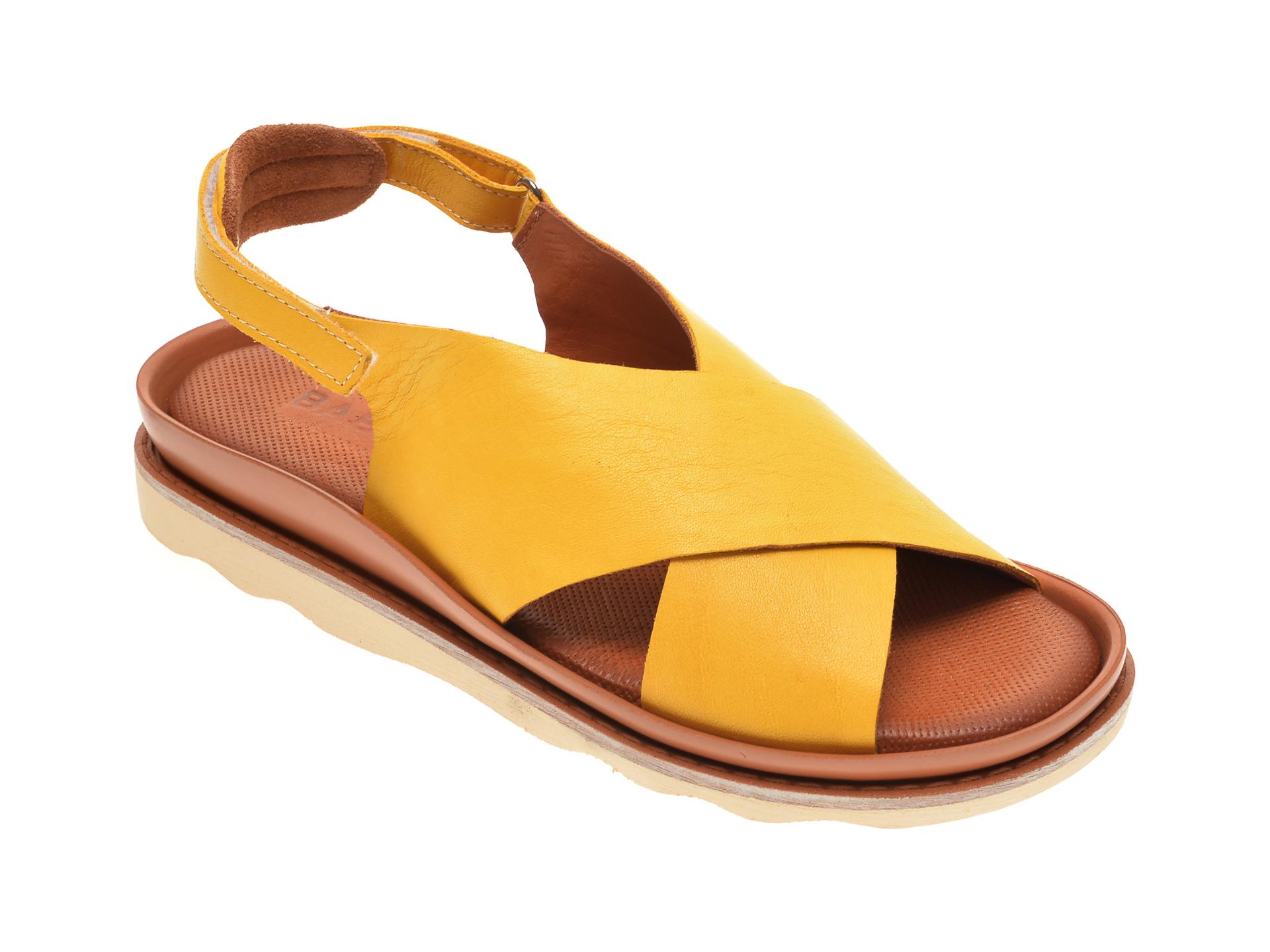Sandale BABOOS galbene, 0403, din piele naturala imagine otter.ro 2021