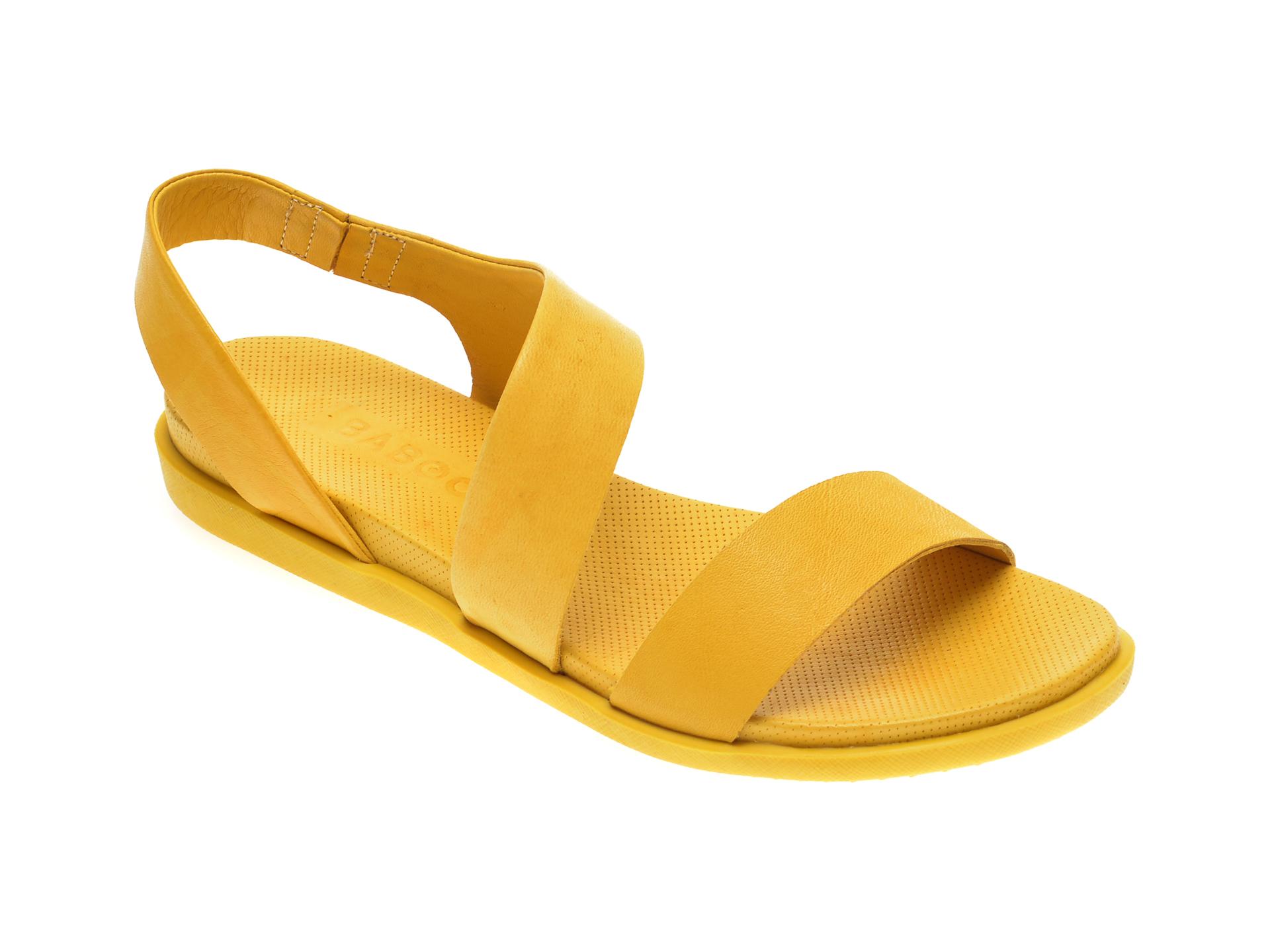 Sandale BABOOS galbene, 1402, din piele naturala