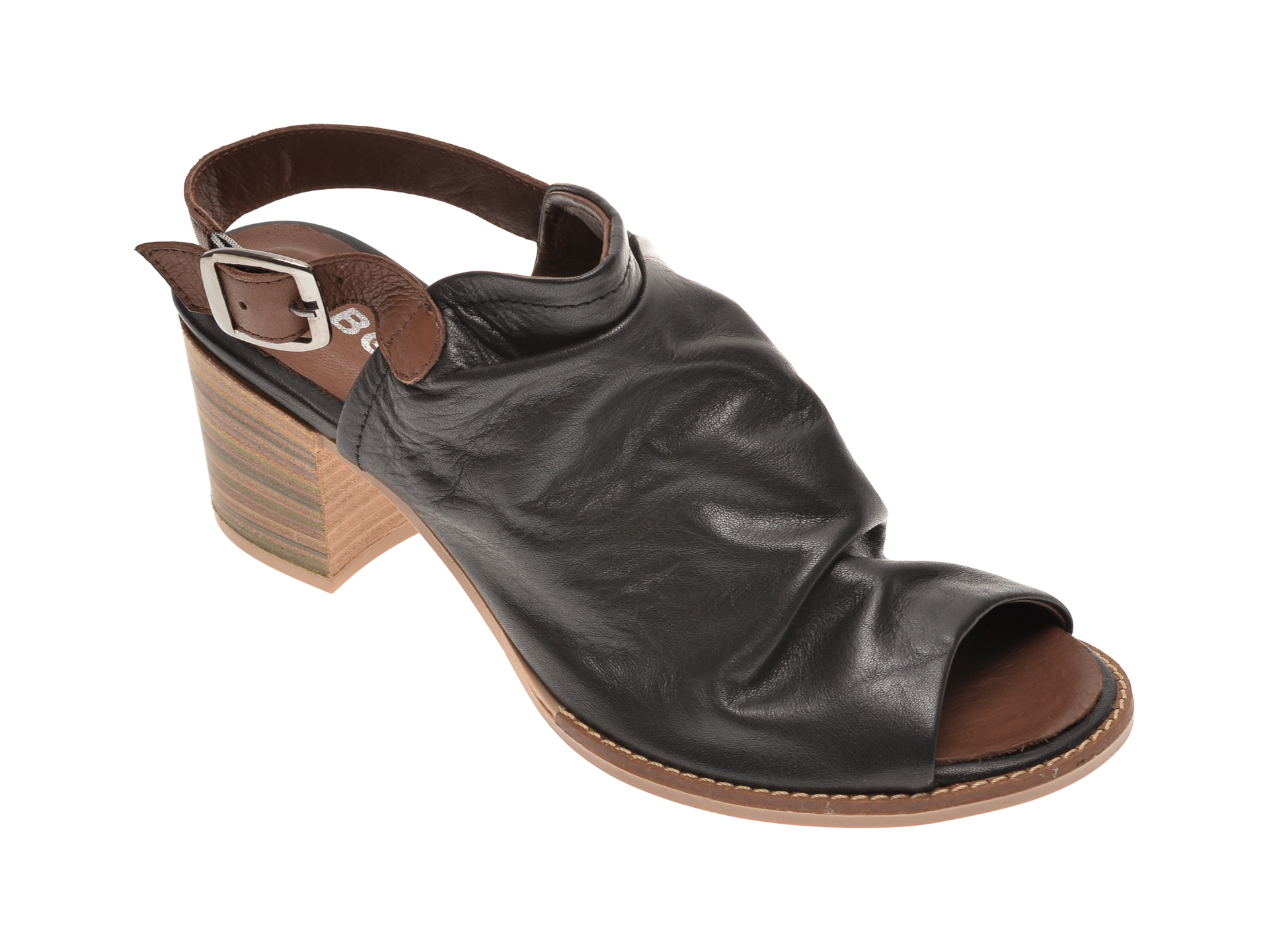Sandale BABOOS negre, 1702, din piele naturala New