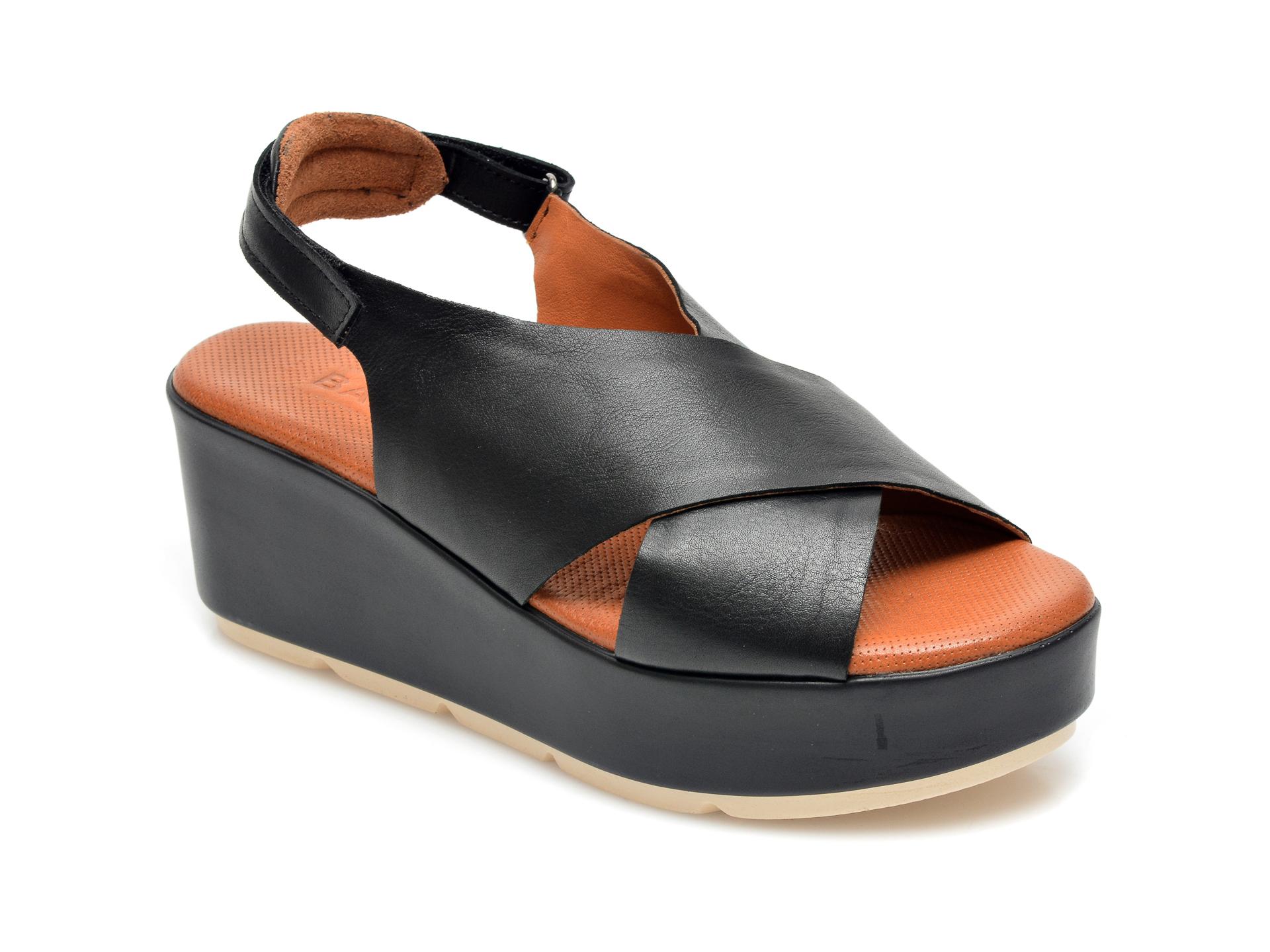 Sandale BABOOS negre, 2520, din piele naturala imagine otter.ro
