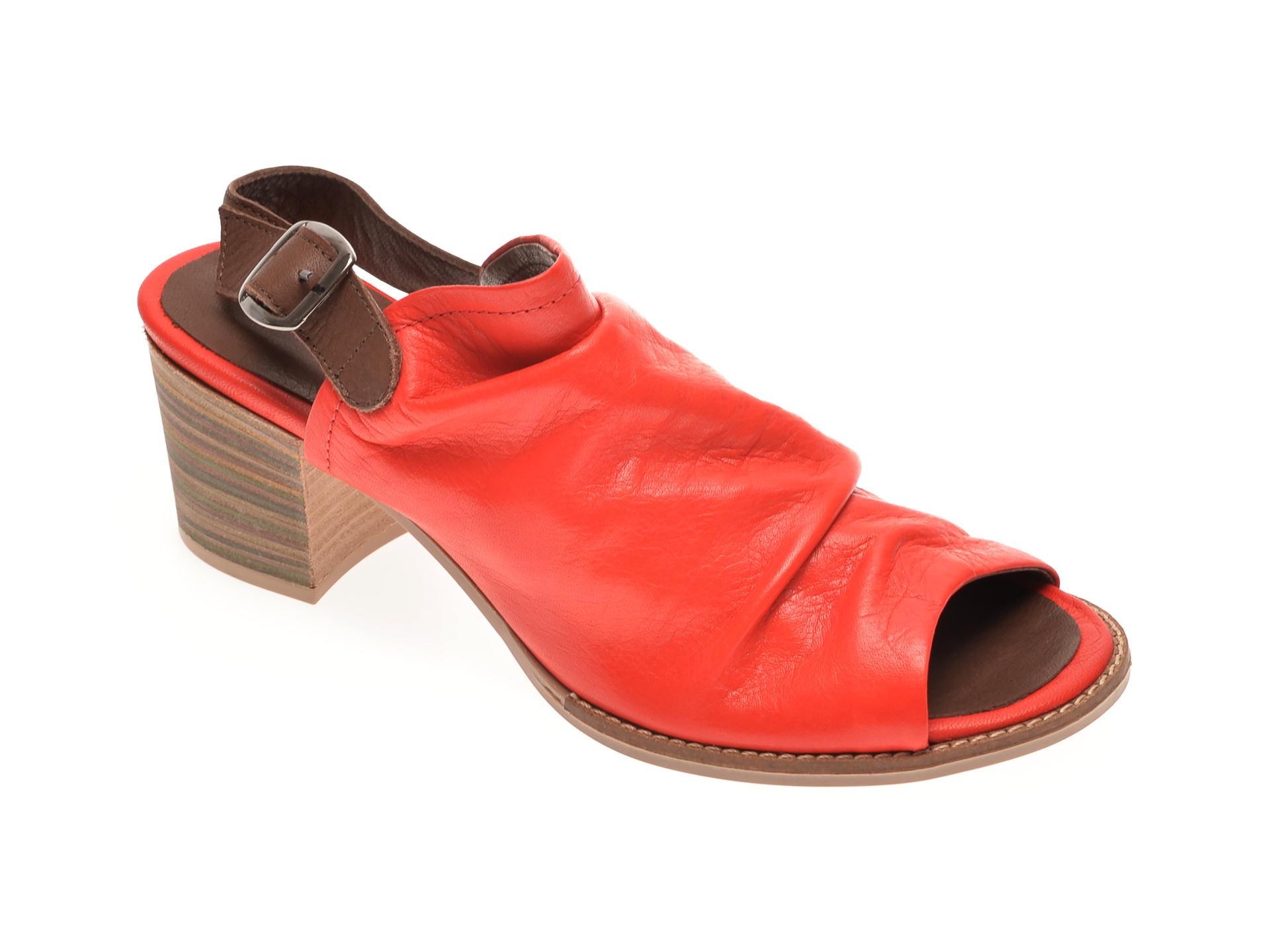 Sandale BABOOS rosii, 1702, din piele naturala
