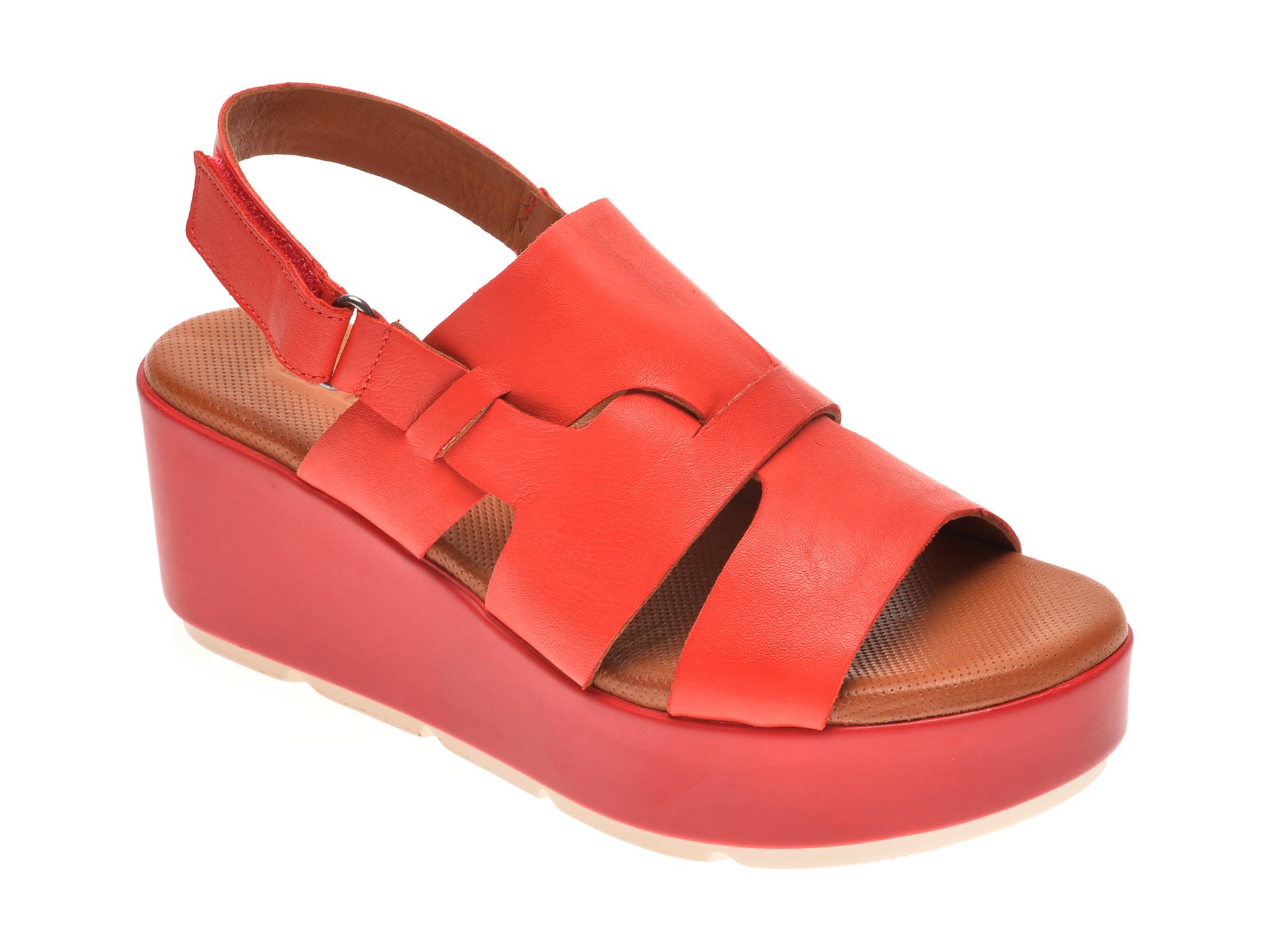 Sandale BABOOS rosii, 2519, din piele naturala
