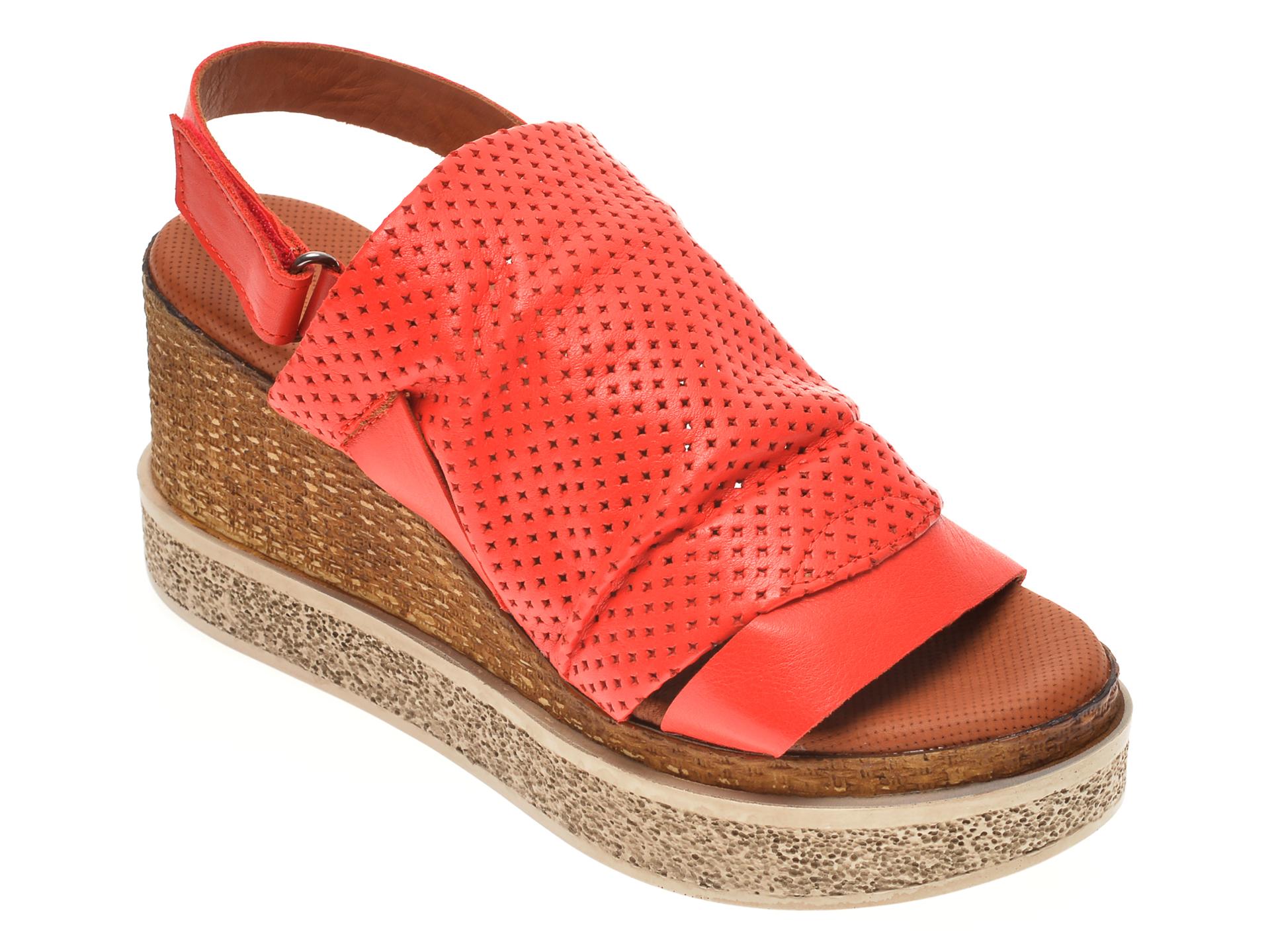 Sandale BABOOS rosii, 852507, din piele naturala