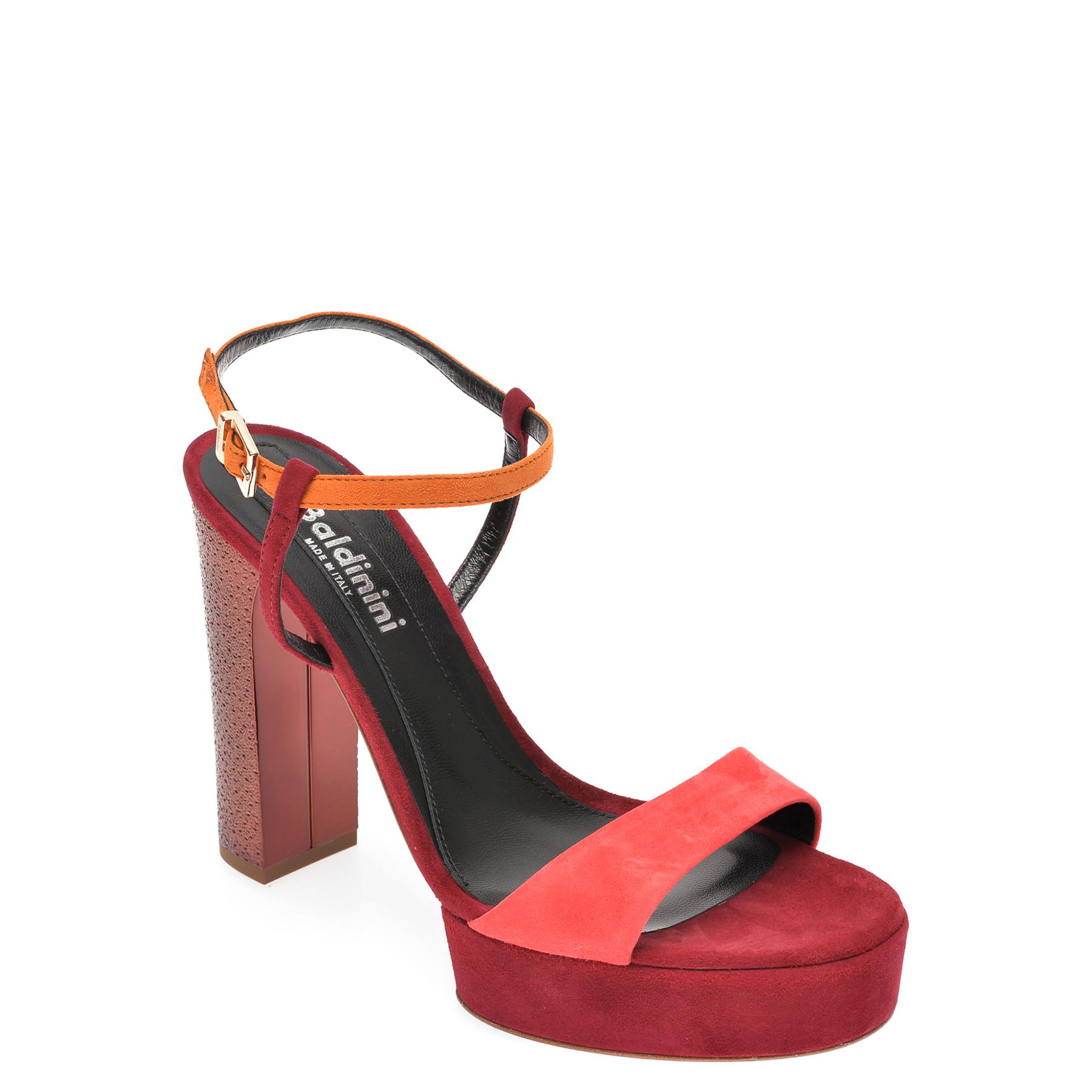 Sandale BALDININI rosii, 057010, din piele intoarsa