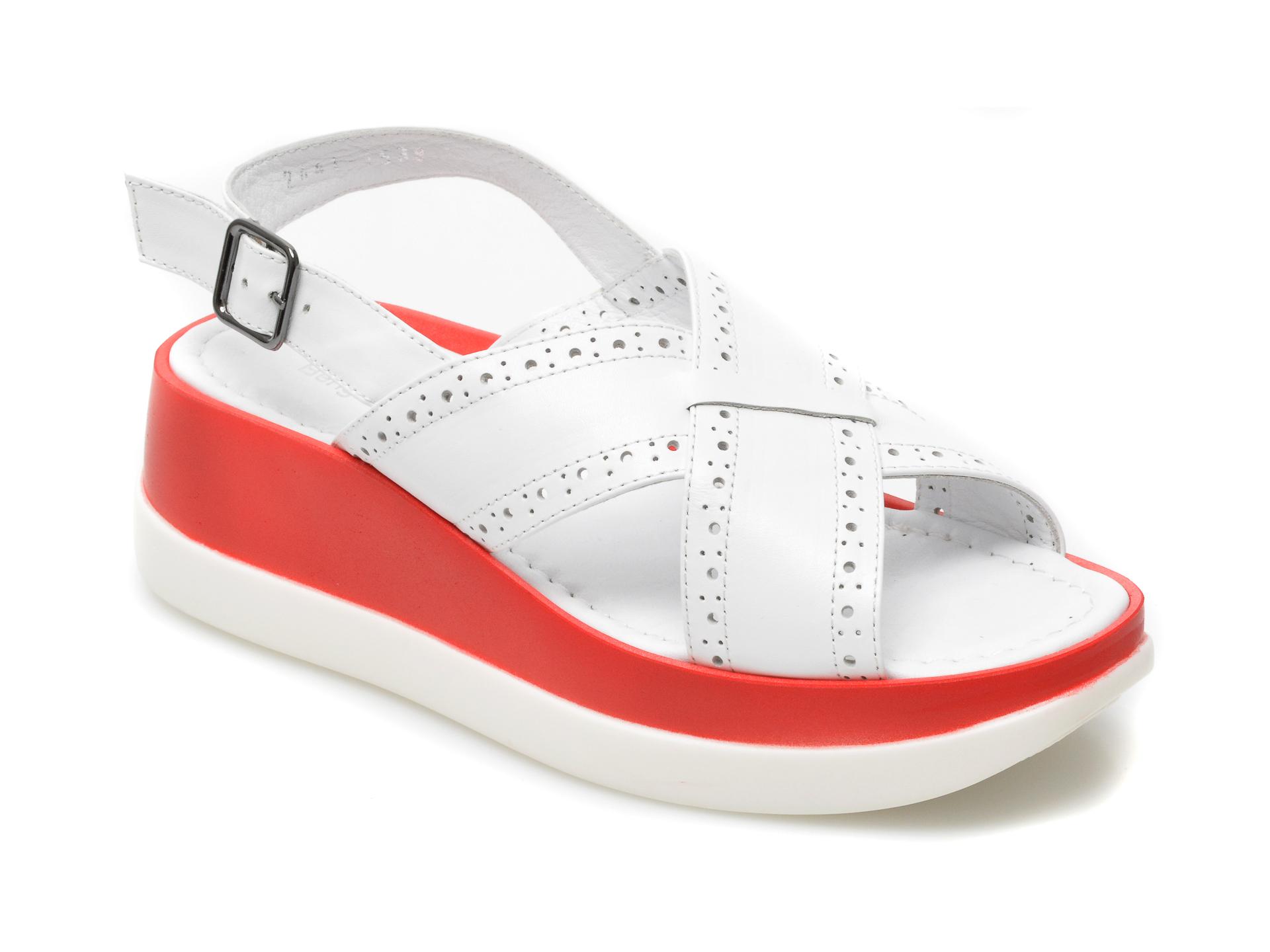 Sandale BENGZO BALDINI albe, Z2488, din piele naturala imagine otter.ro