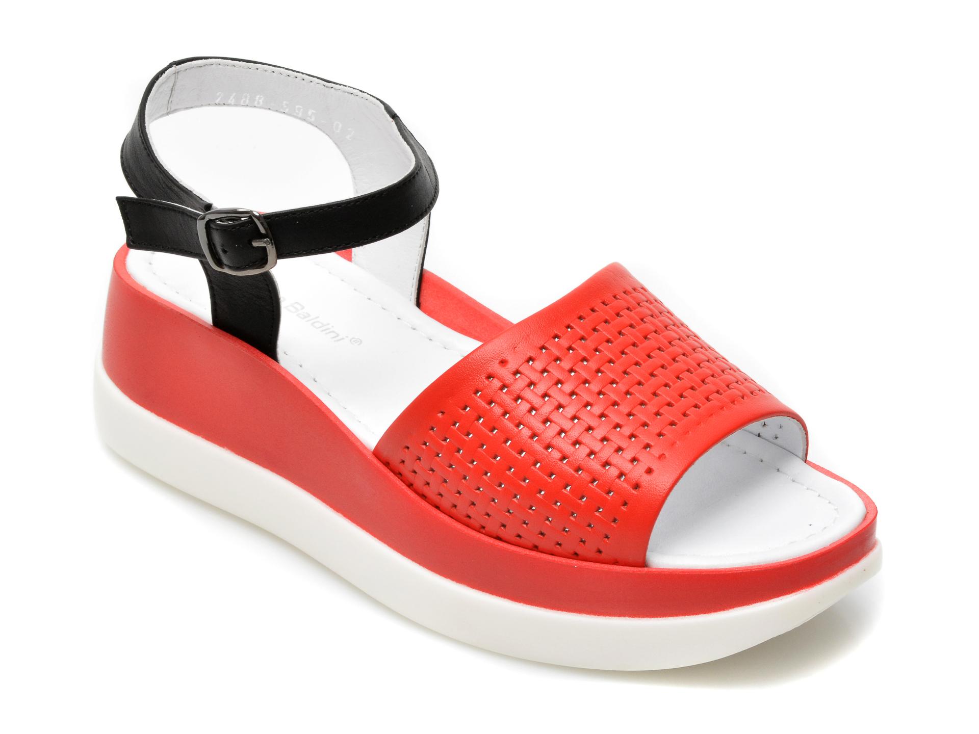 Sandale BENGZO BALDINI rosii, 2441, din piele naturala imagine otter.ro