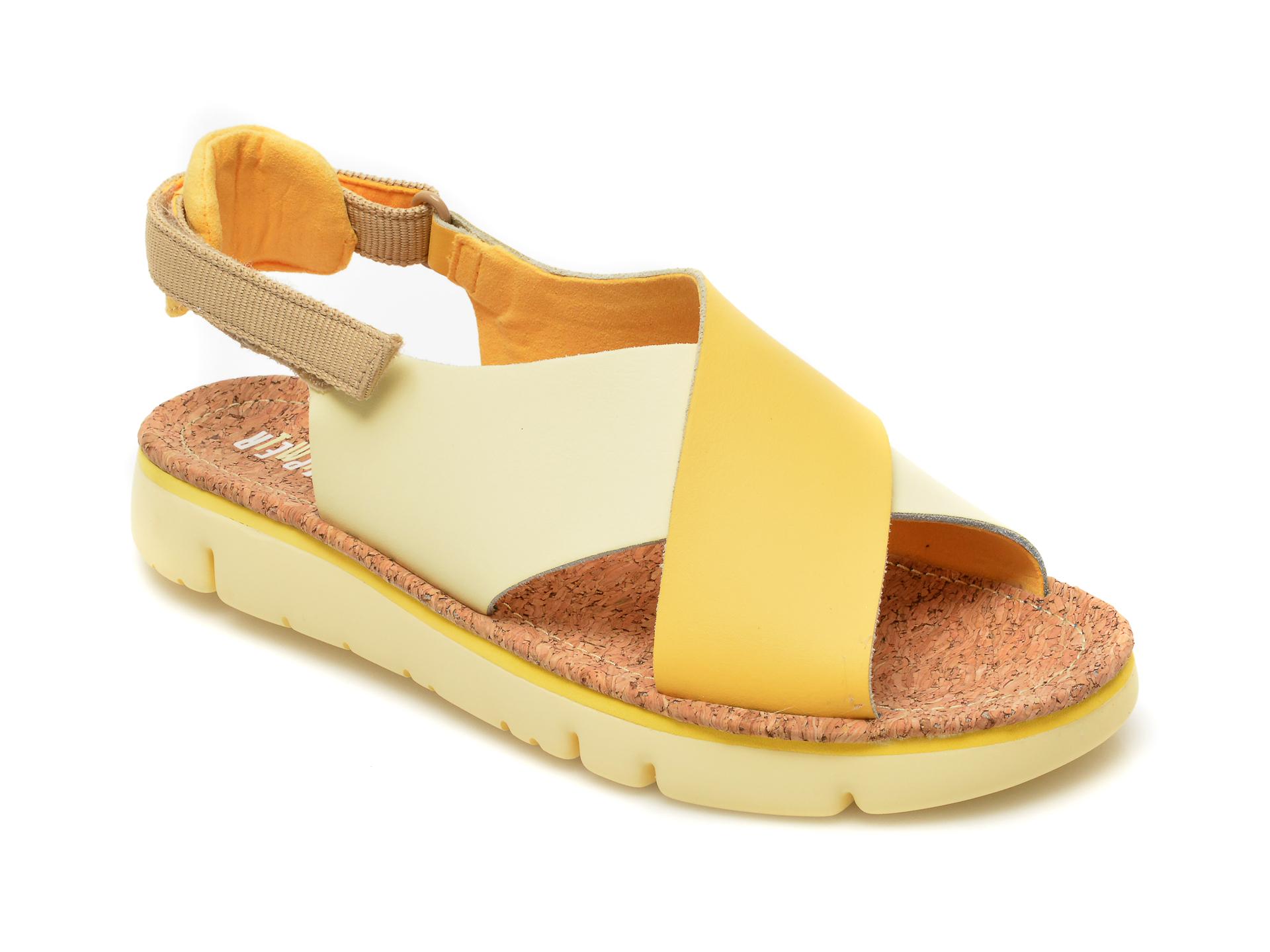 Sandale CAMPER galbene, K200157, din piele naturala imagine otter.ro 2021