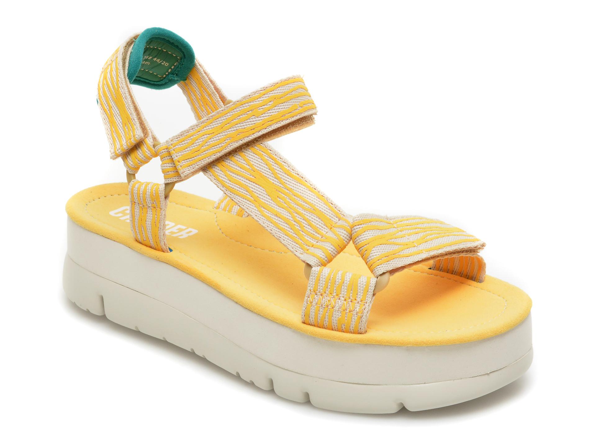Sandale CAMPER galbene, K200851, din material textil imagine otter.ro