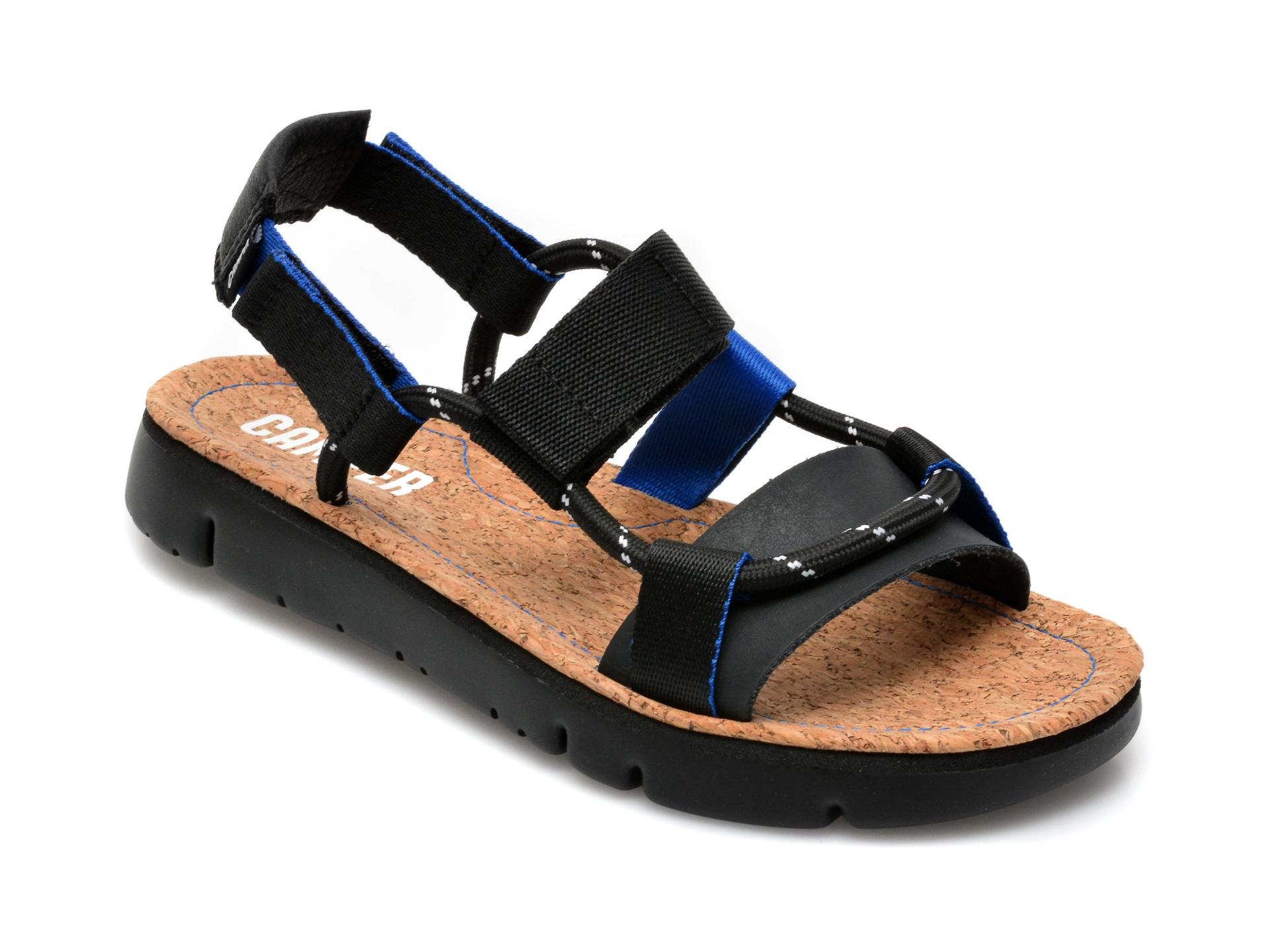 Sandale CAMPER negre, K201191, din material textil si piele naturala